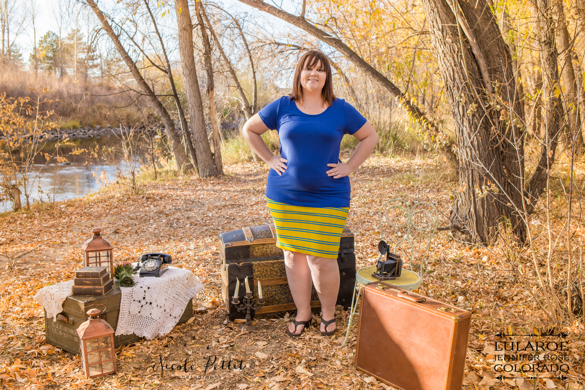 Woman posing in Cassie Skirt and Classic T from Lularoe with Jennifer from Colorado at the Poudre River Trail