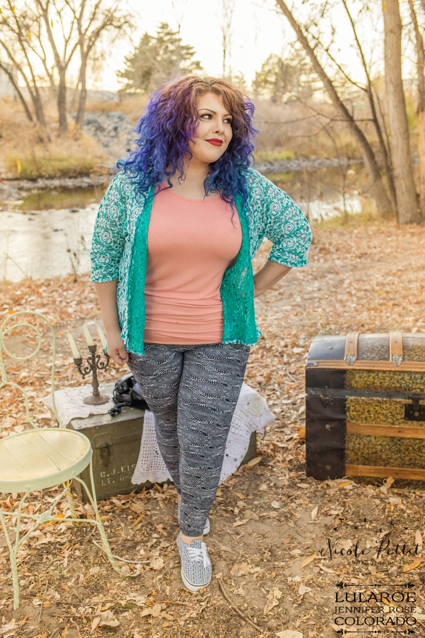 Woman with blue and blue hair modeling leggings from Lularoe with Jennifer from colorado at the Poudre River Trail in Fort Collins, Colorado
