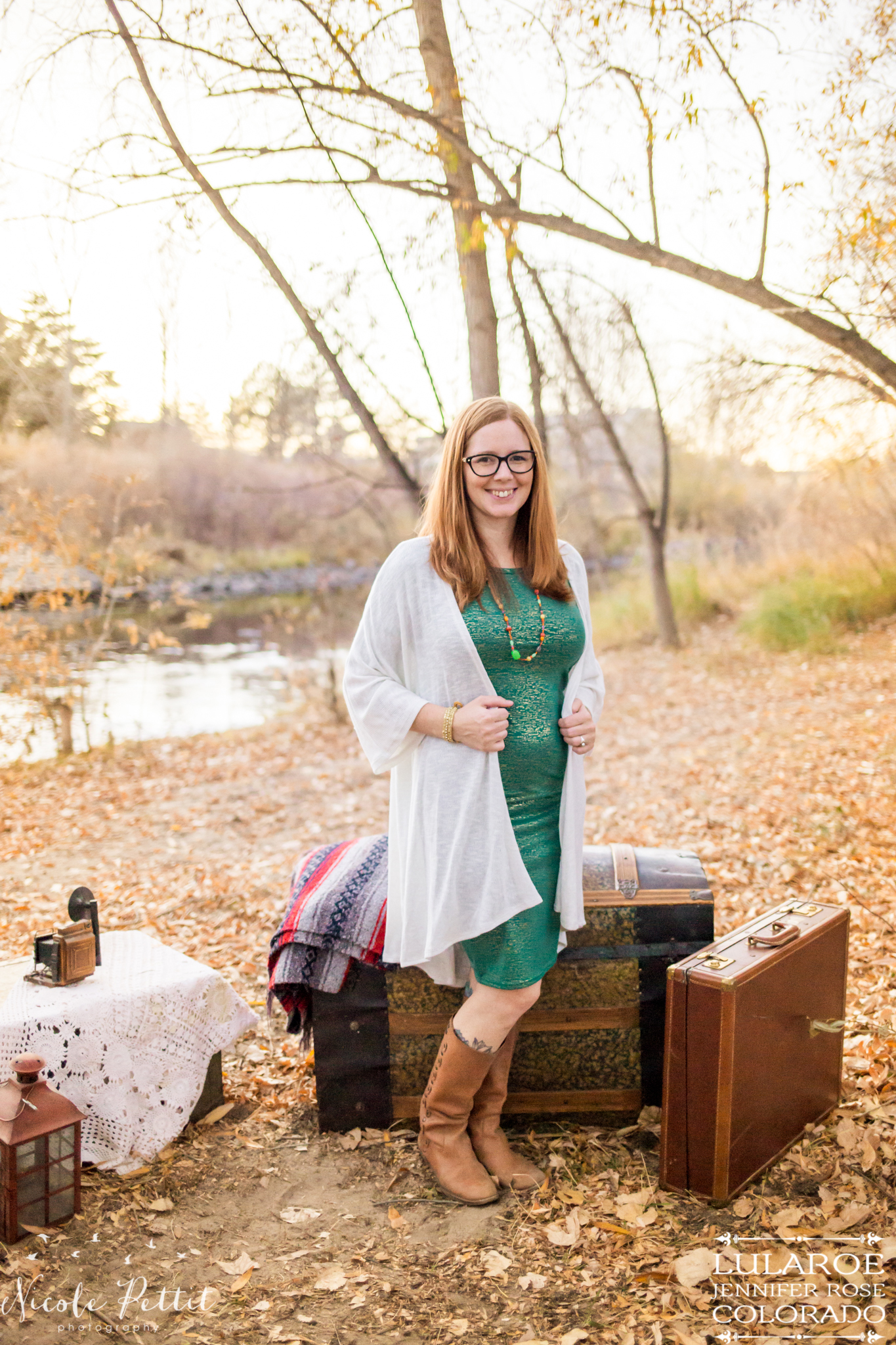 Woman modeling the Lindsay cardigan and Julia dress from Lularoe with Jennifer from Colorado at the Poudre River Trail in Fort Collins, Colorado