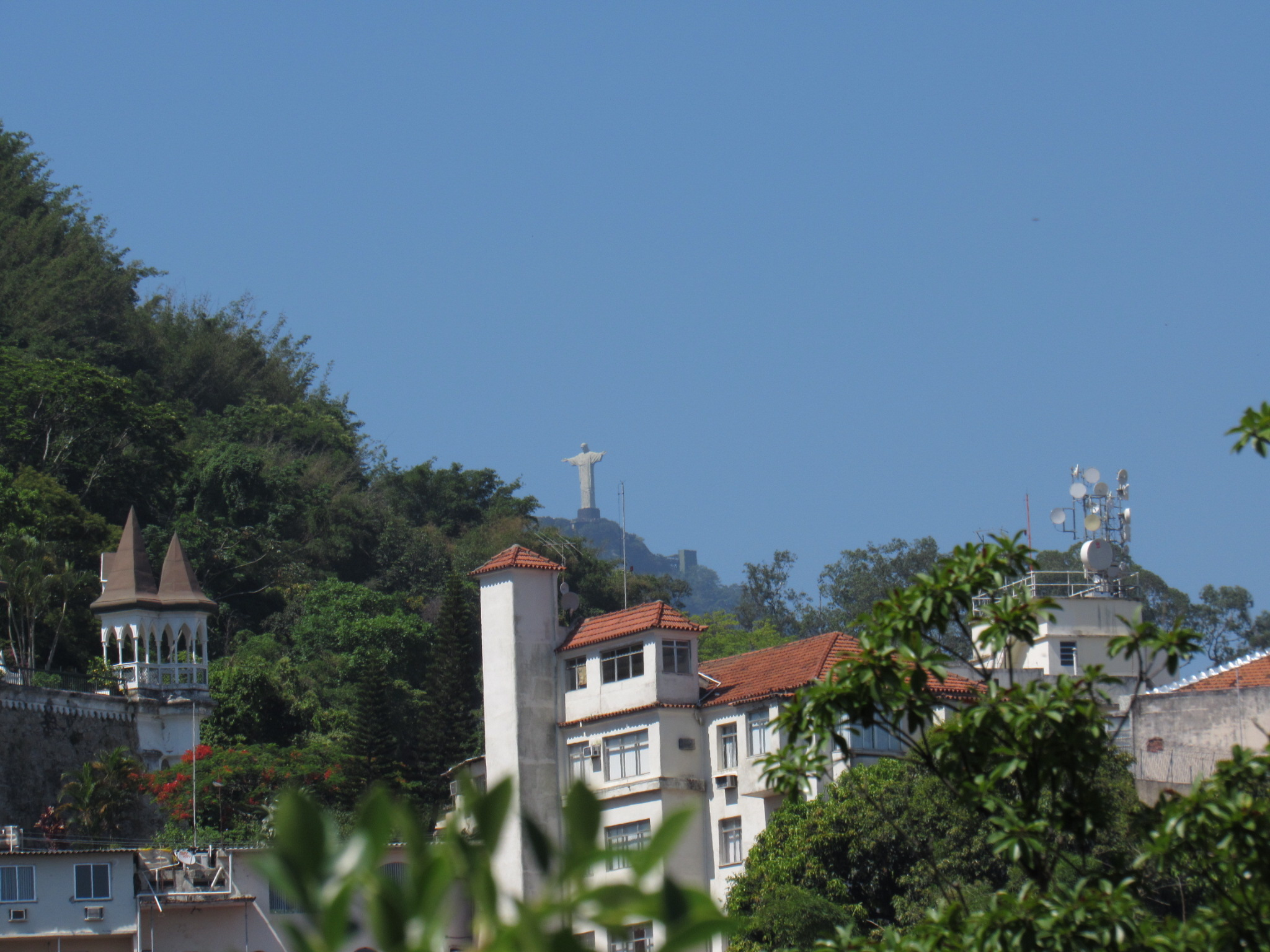 View of Cristo Redentor (Christ the Redeemer) from the colonial town of Santa Teresa