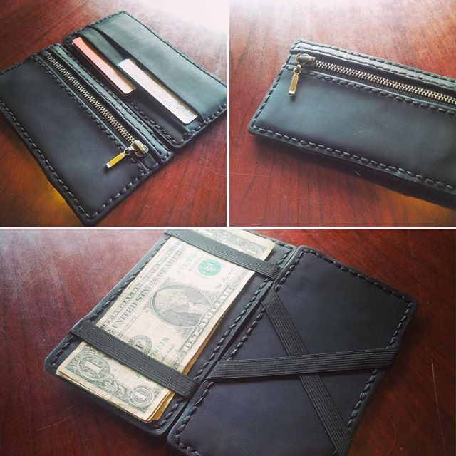 Hand stitched leather wallet, made by @thefirstfollower