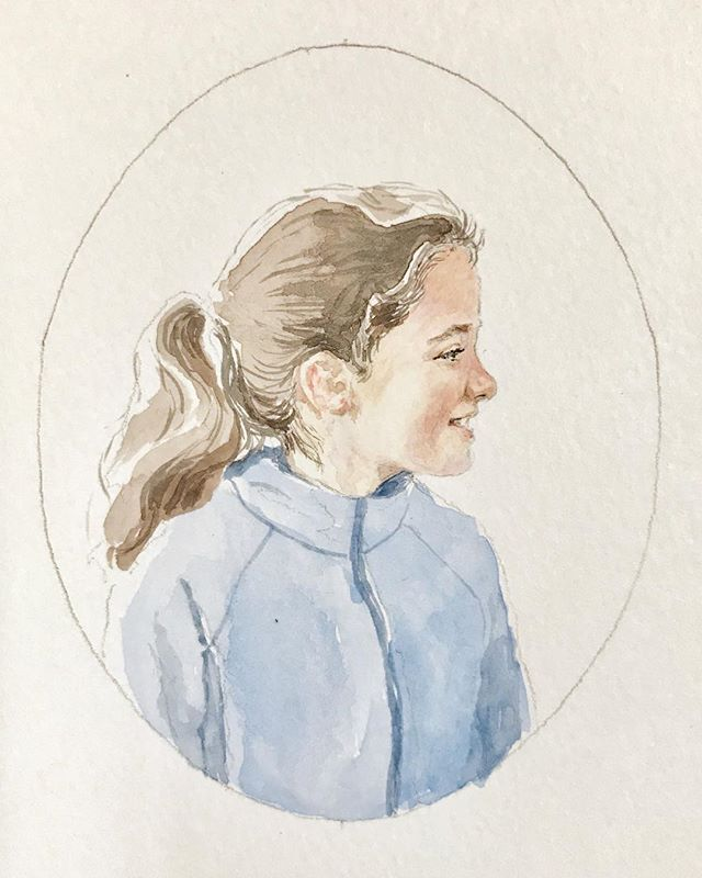 💙 #portraitminiature of a special little lady. It's the original school photo, but not as embarrassing.