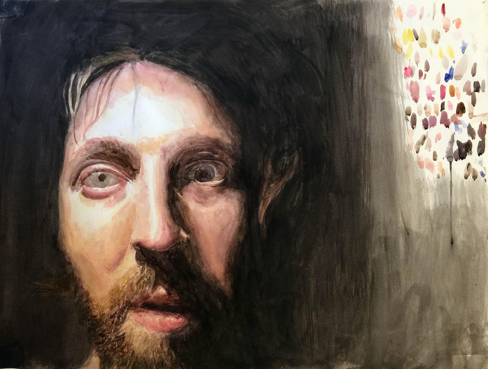 "Dark in the Studio 4 (self-portrait). Watercolor on Paper. 17"" x 24""."
