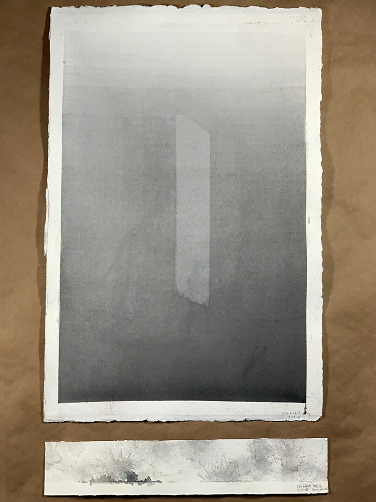"""Gradient Study (Gray). Watercolor on Paper. 14"""" x 22""""."""