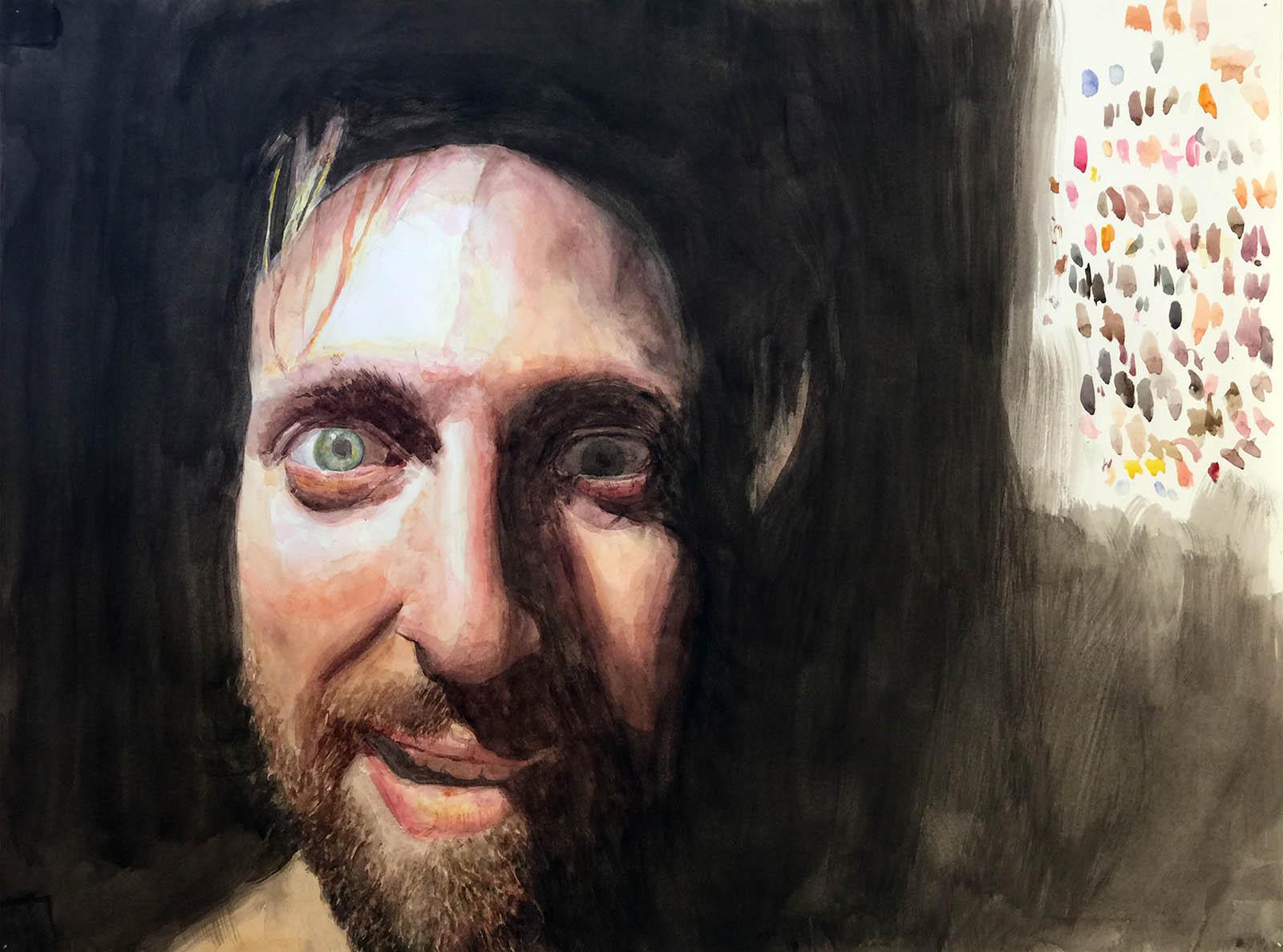 "Dark in the Studio 3 (self-portrait). Watercolor on Paper. 17"" x 24""."