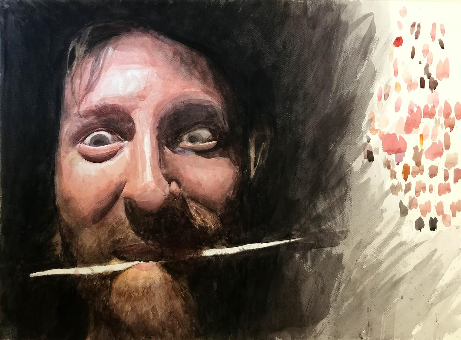 "Dark in the Studio 1 (self-portrait). Watercolor on Paper. 17"" x 24""."