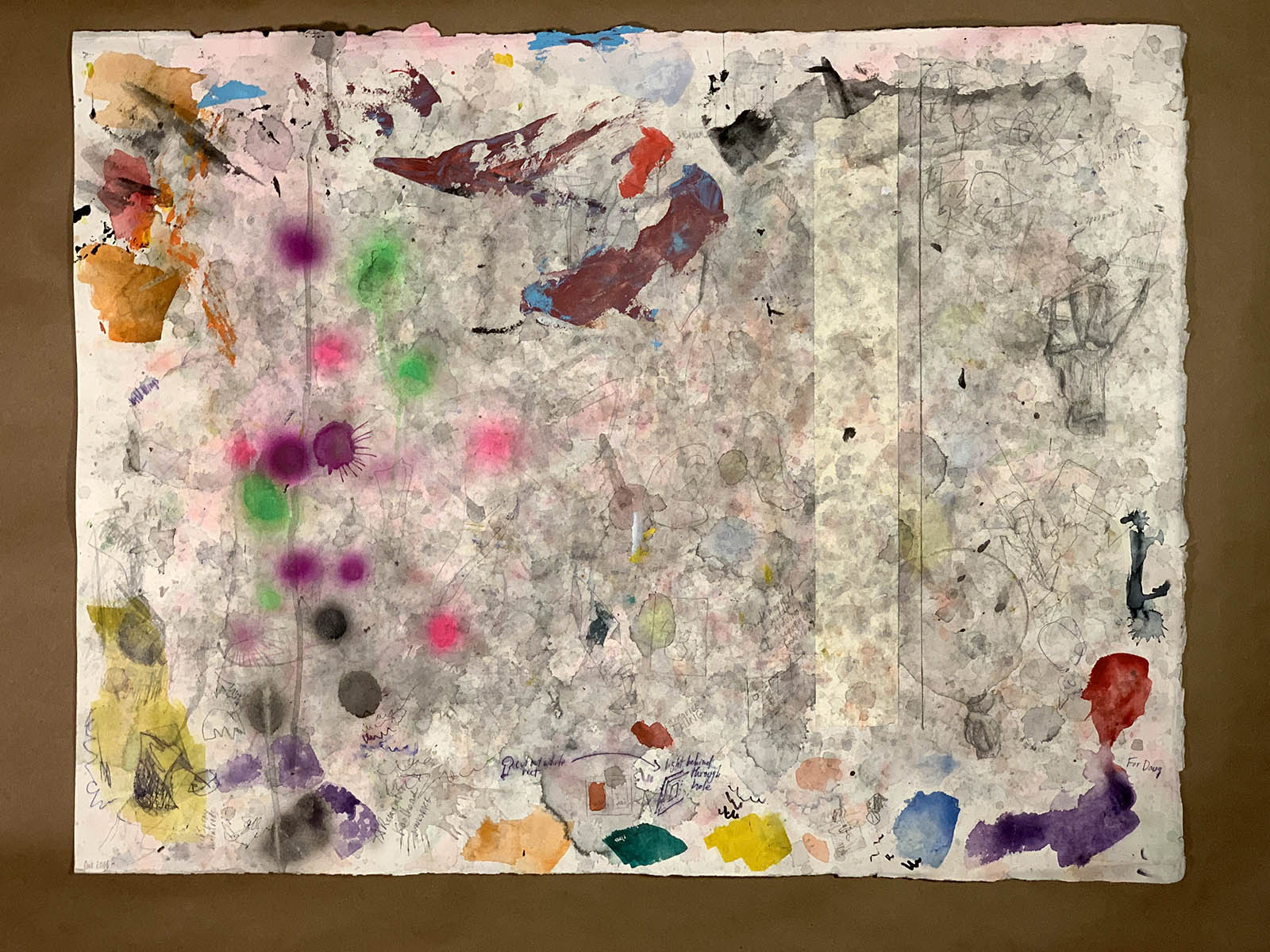 """Untitled (Studio Remnant). 2018. Mixed Media on Paper. 17"""" x 24""""."""