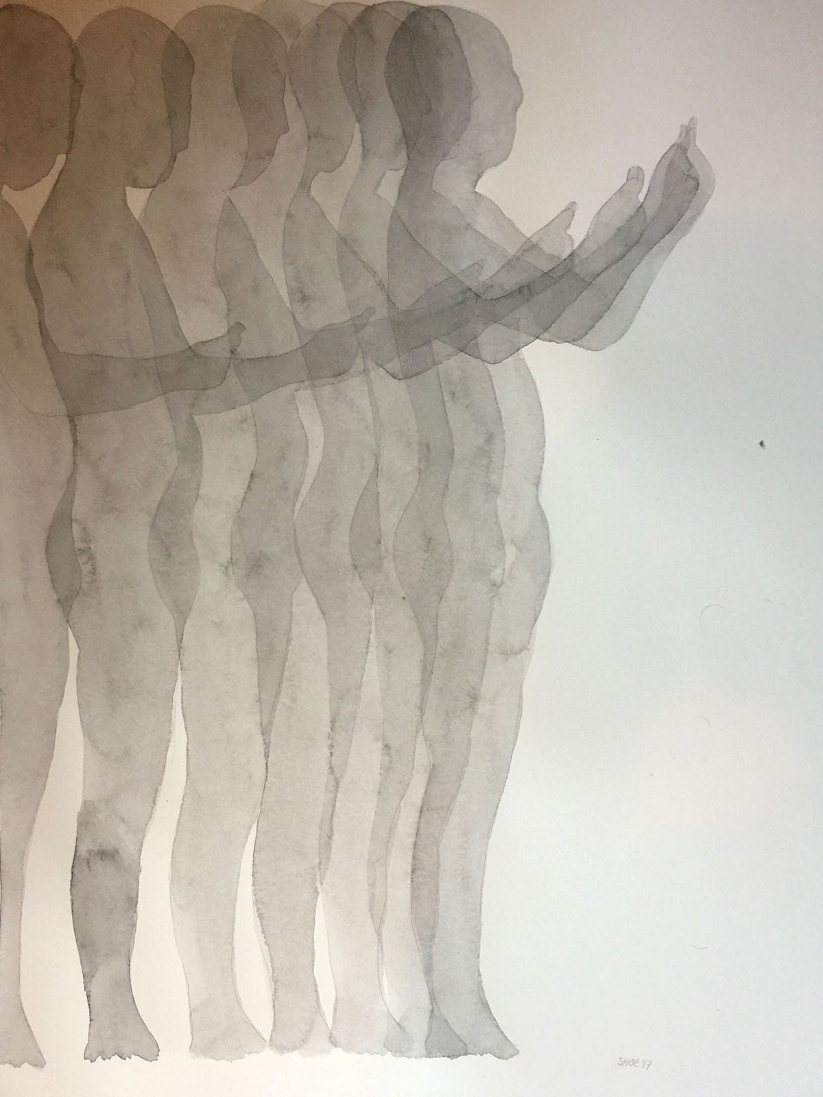 """Untitled (Posture Study). Watercolor on Paper. 17"""" x 24""""."""