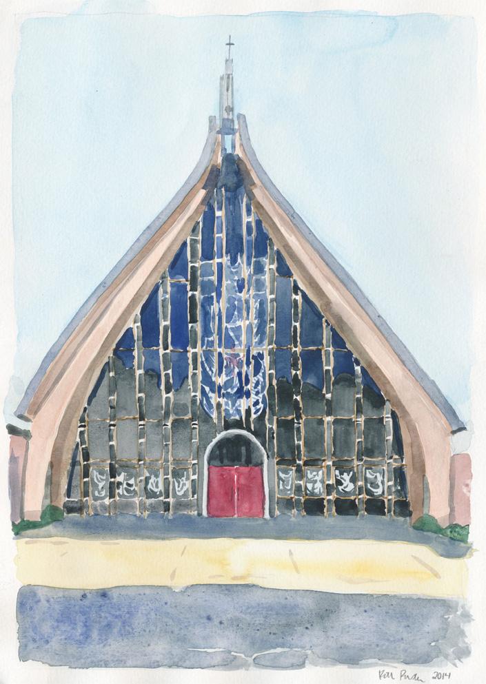 Kirkwood United Methodist Church. Watercolor on paper, 2014.