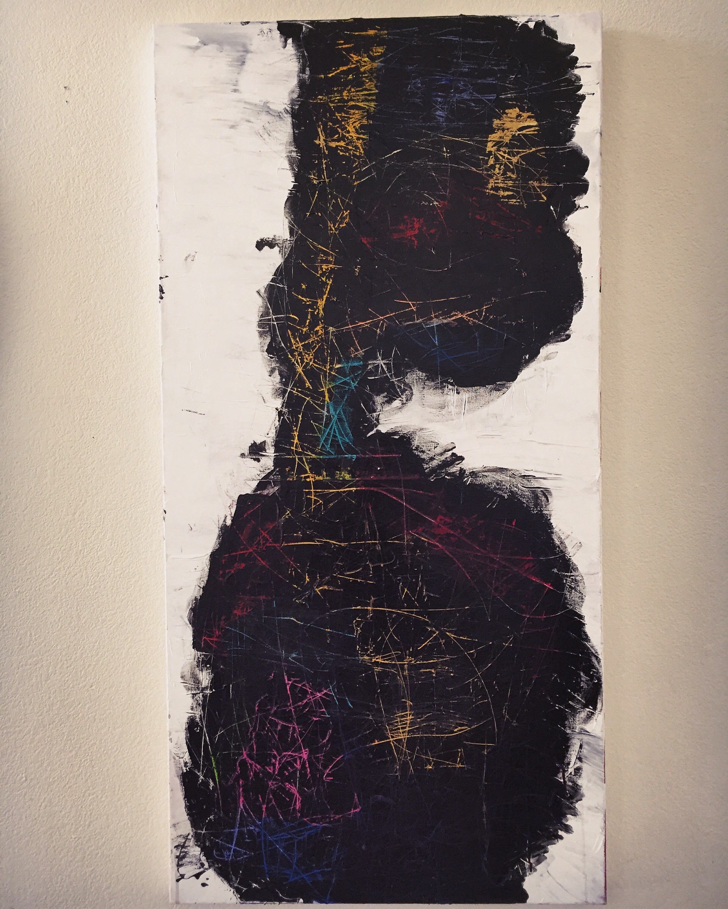 """""""But She Has Everything She Needs With to Survive"""", acrylic on canvas, from The Laughing Barrel series, an exploration of the historical origins and personal impact of emotional and expressive suppression in Black women."""