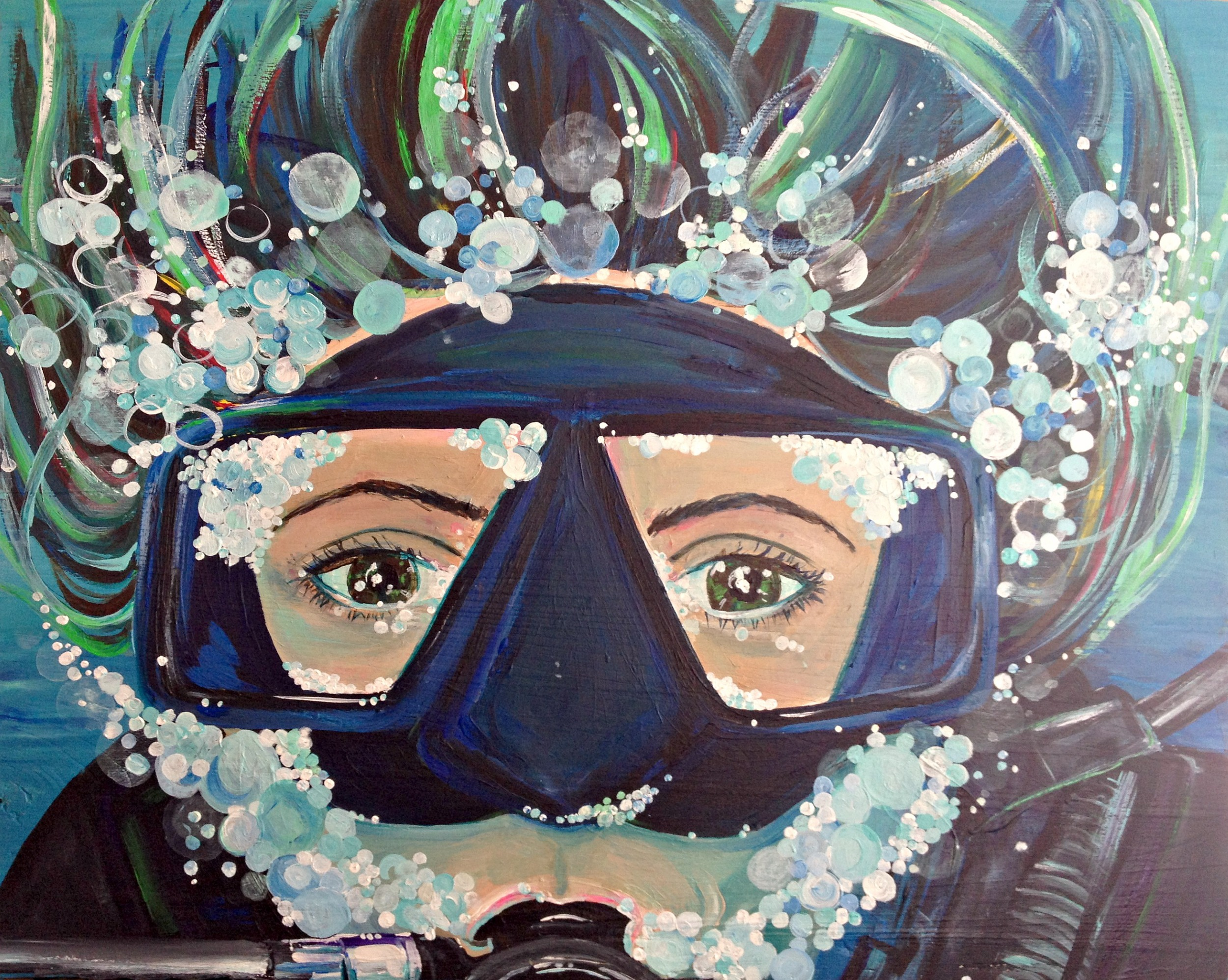 """""""Beard of Bubbles"""" - approx 23.5""""x28"""" acrylic on recycled solid wood 2014"""