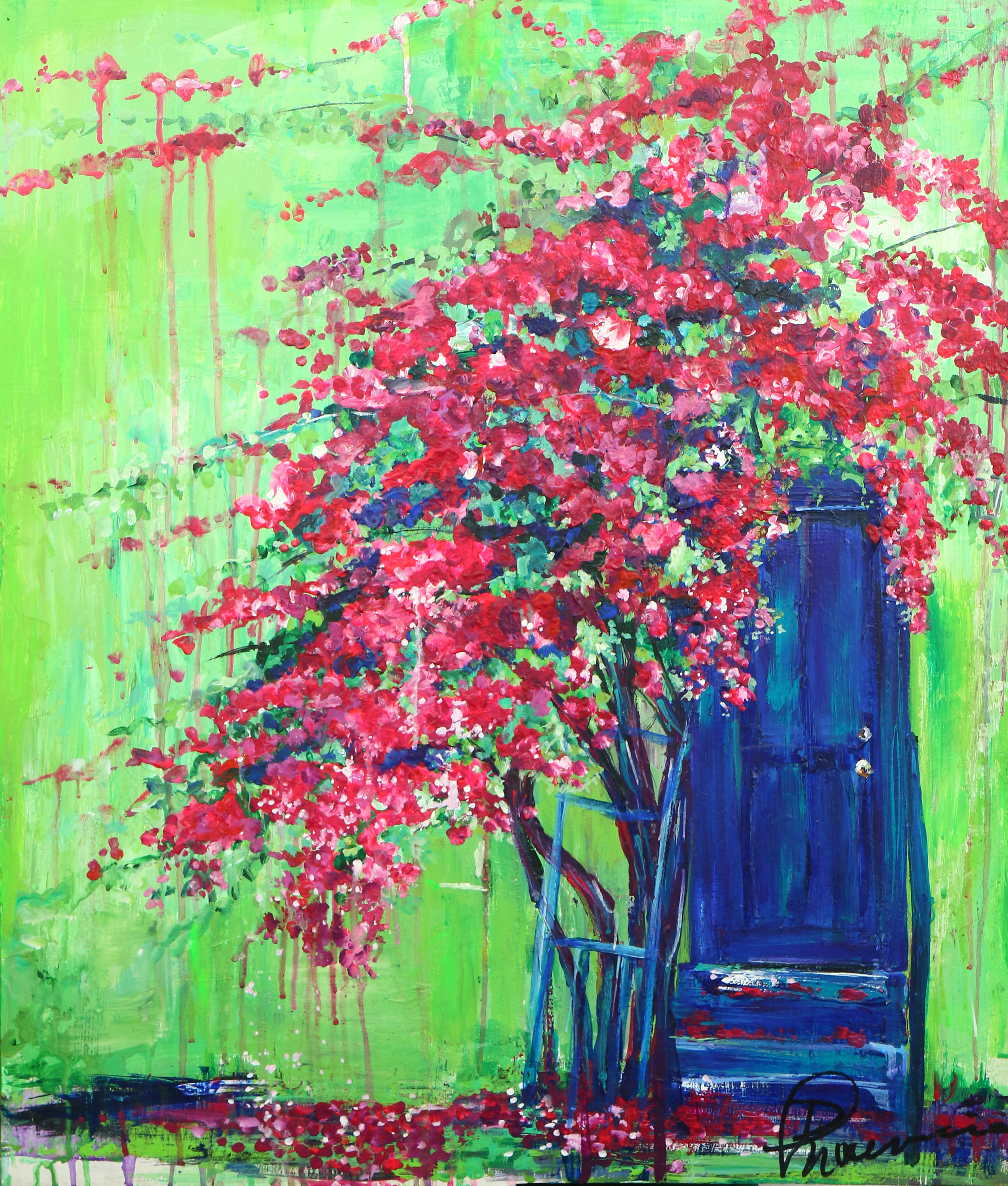 """""""Weeping Bougainvillea"""" - acrylic on recycled solid wood 23.5""""x28"""" (not square)"""