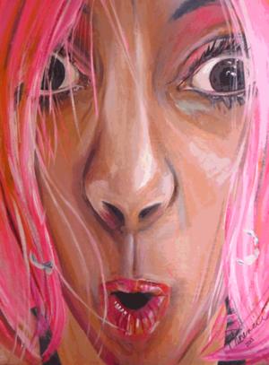 "Pink Self-Portrait, 32""x40"" acrylic on canvas 2013"