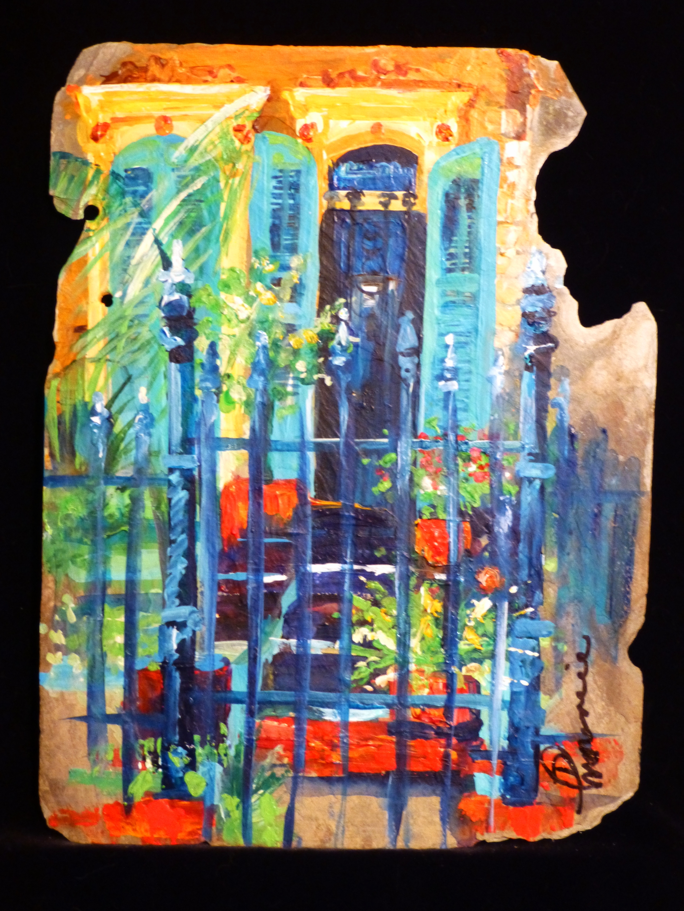 """""""Entrance"""" 12""""x16"""" acrylic on New Orleans roofing slate"""