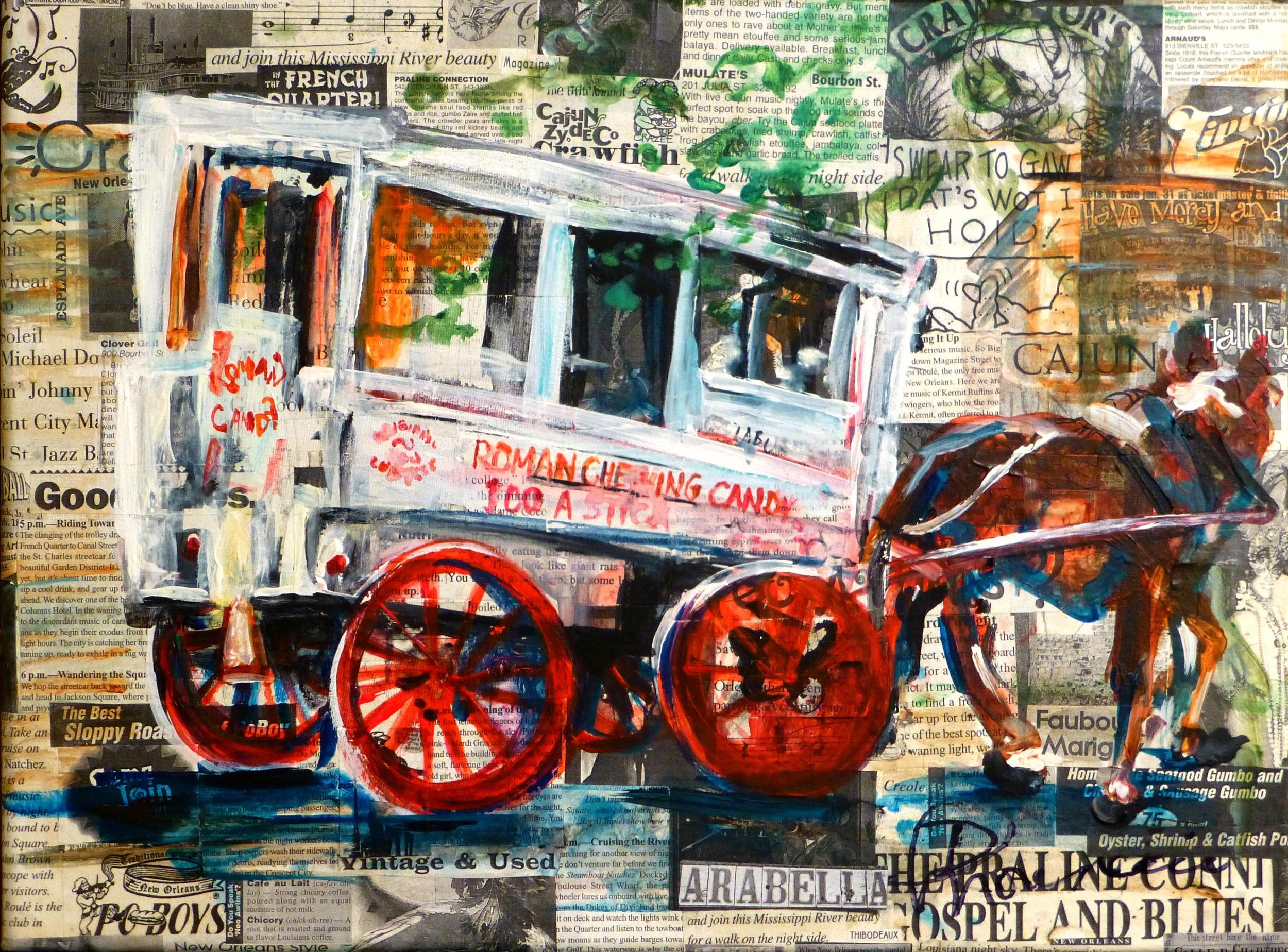 """""""Neighbor"""" 16""""x20"""" acrylic on collage on canvas"""