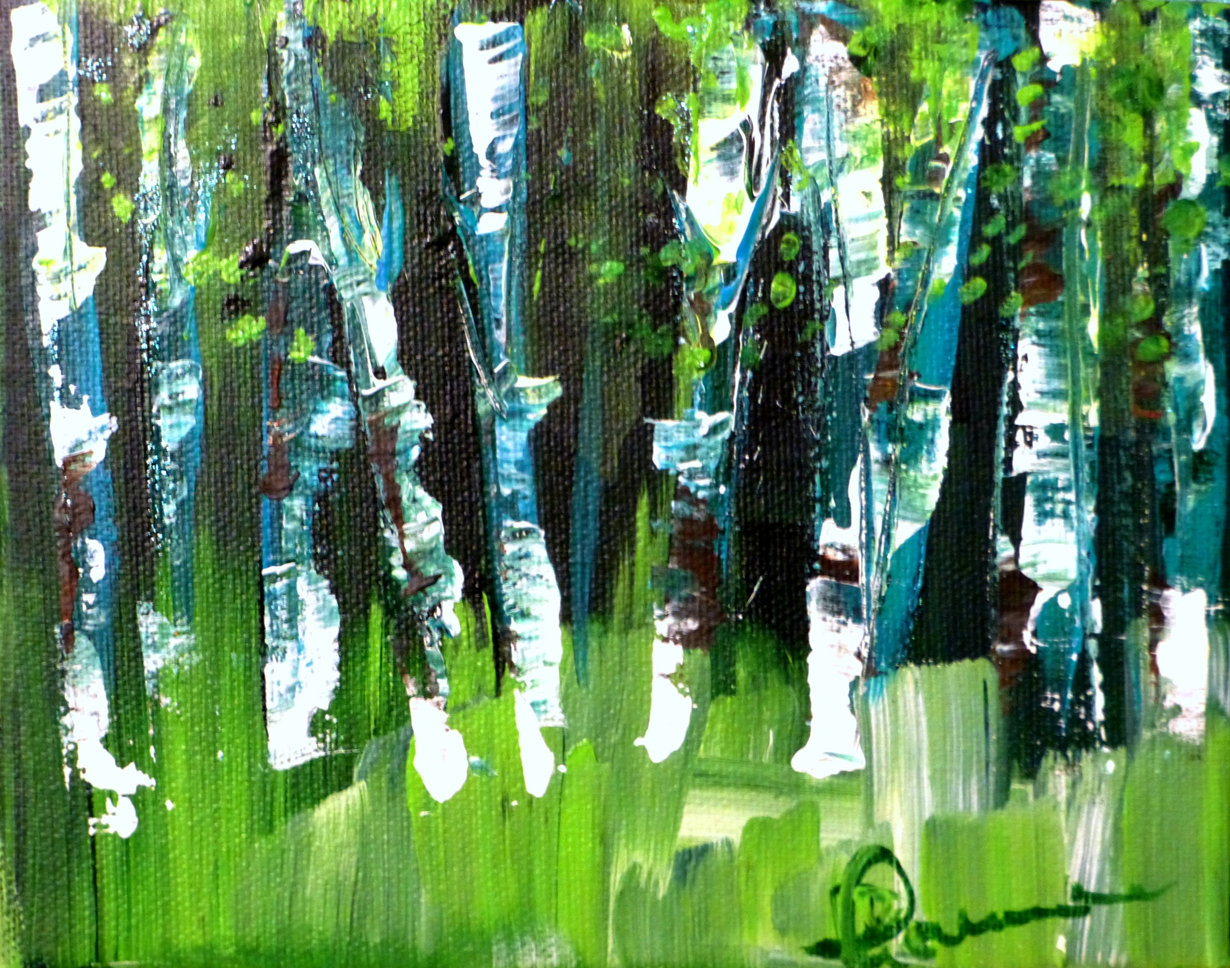 """(available) """"Green Trees"""" 5.5""""x7"""" acrylic on canvas 2016"""
