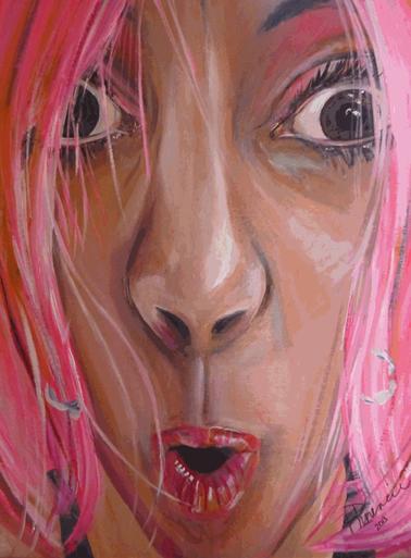"Mardi Gras Self Portrait 2013, acrylic on canvas 32""x40"""