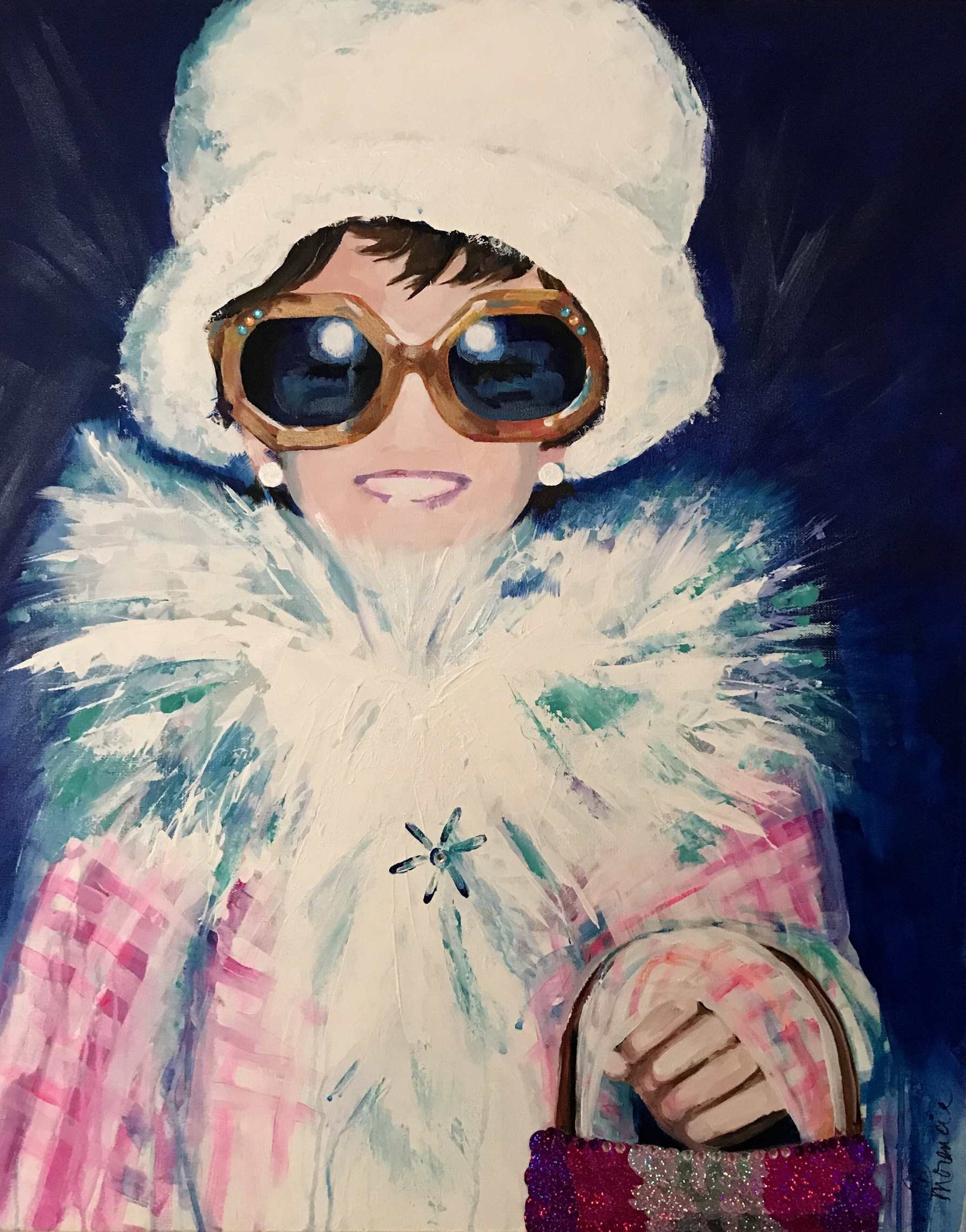 """""""Lil Audrey"""" 24x30 acrylic, rhinestones, sequins on gallery-wrapped canvas"""