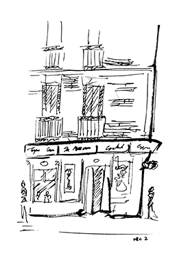 (Sketch of a cafe in Madrid)