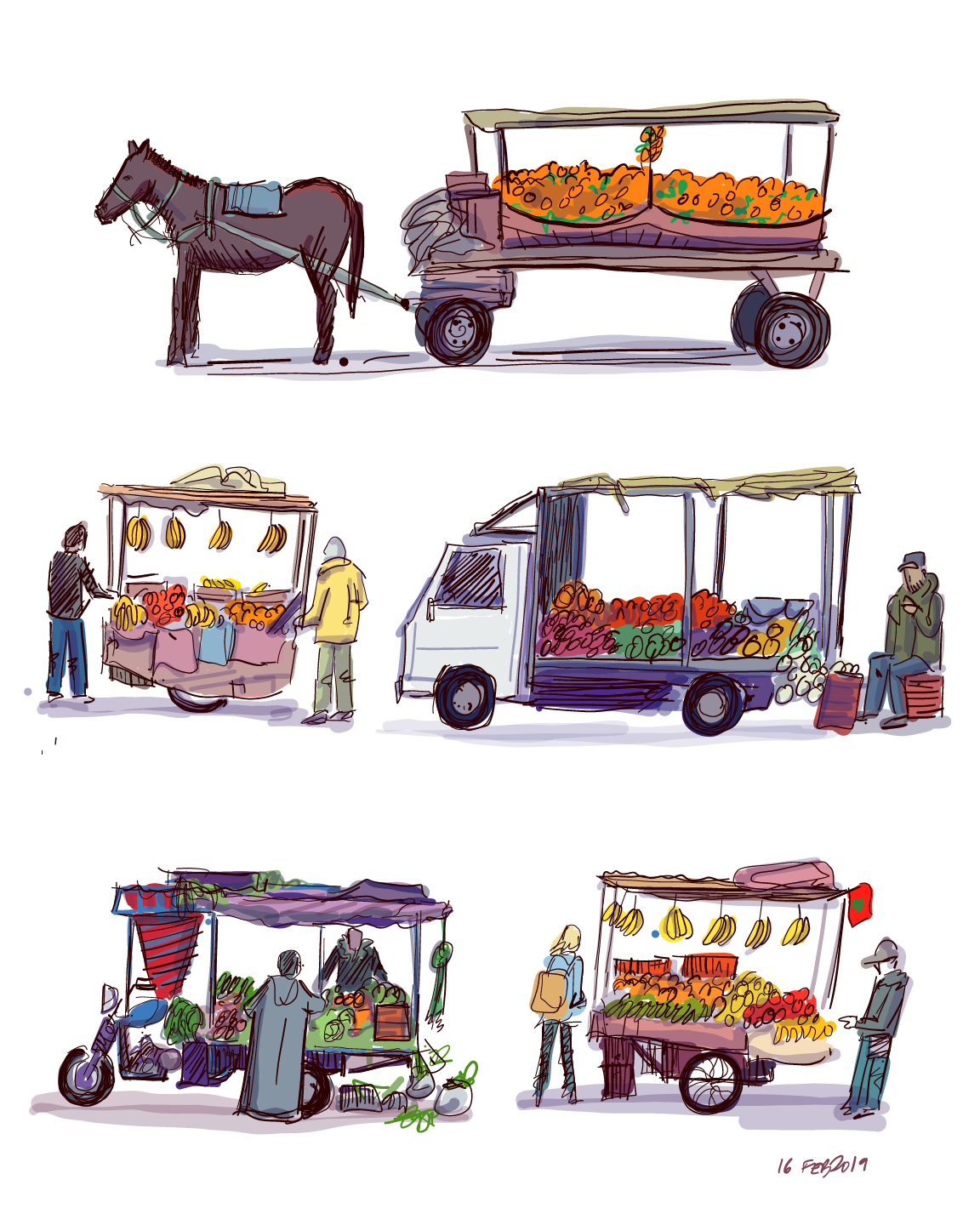 Fruit carts in Marrakech, Morocco