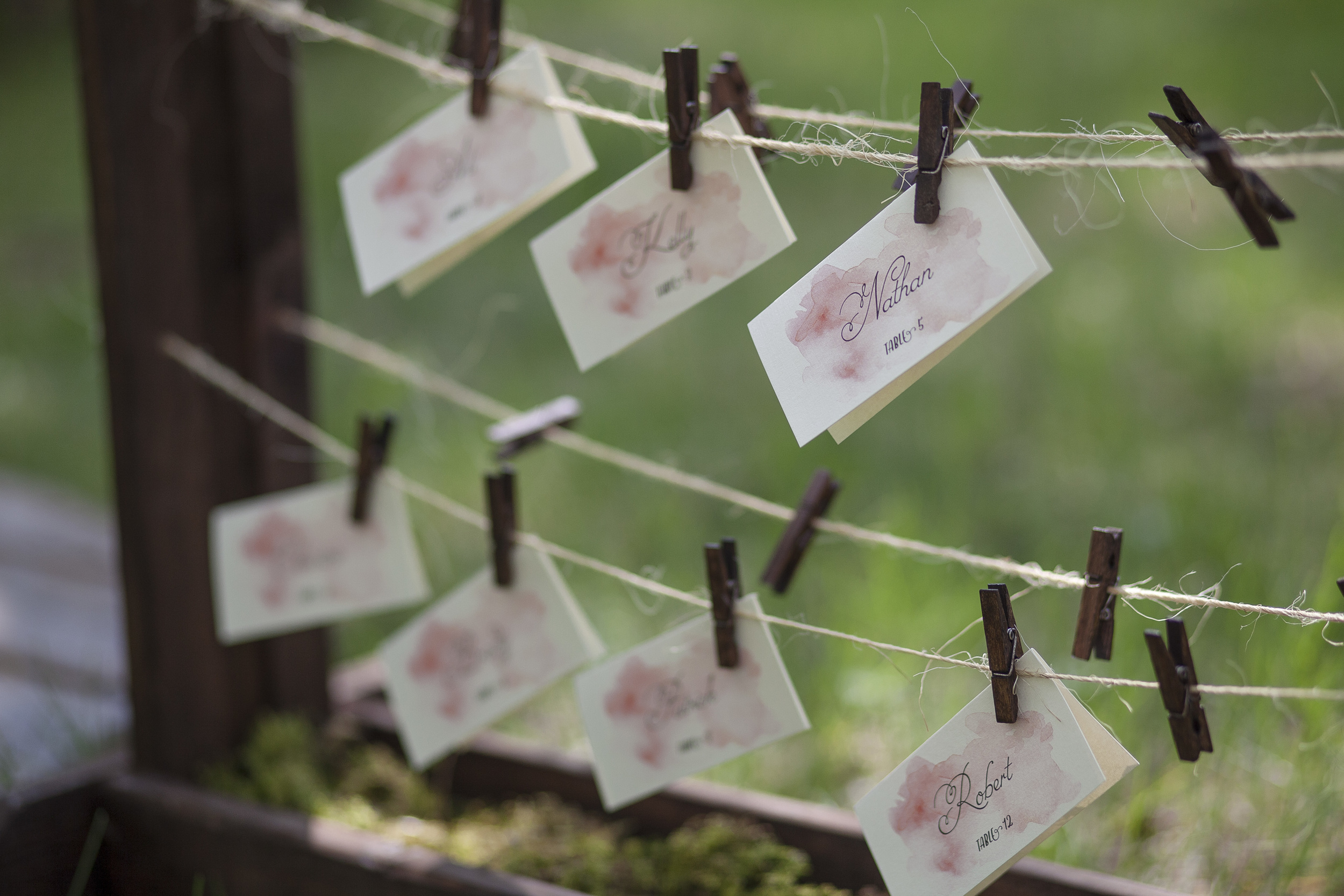 watercolour escort card