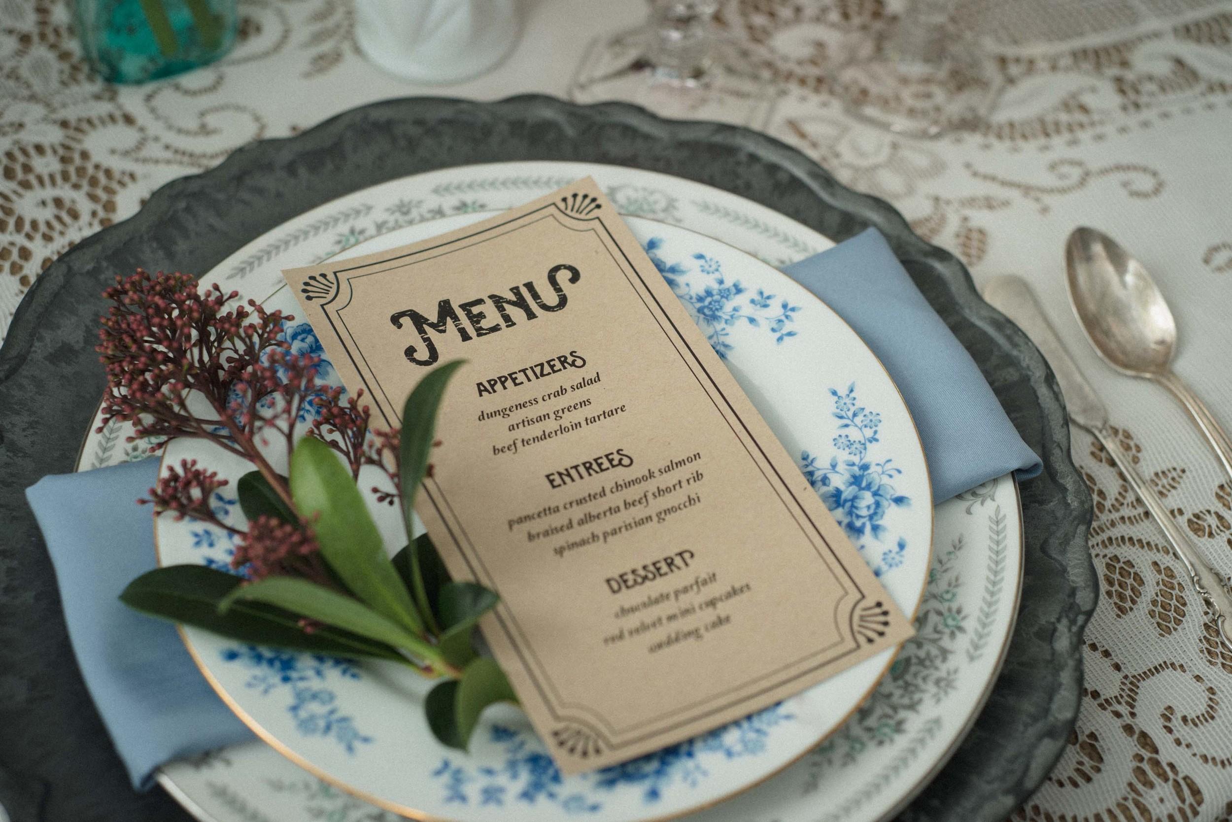 vintage menu