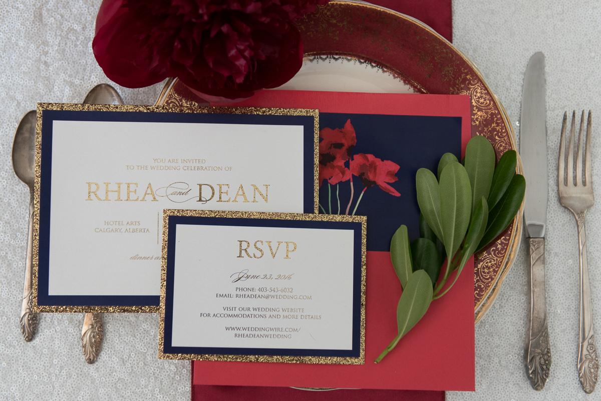 navy/gold invite