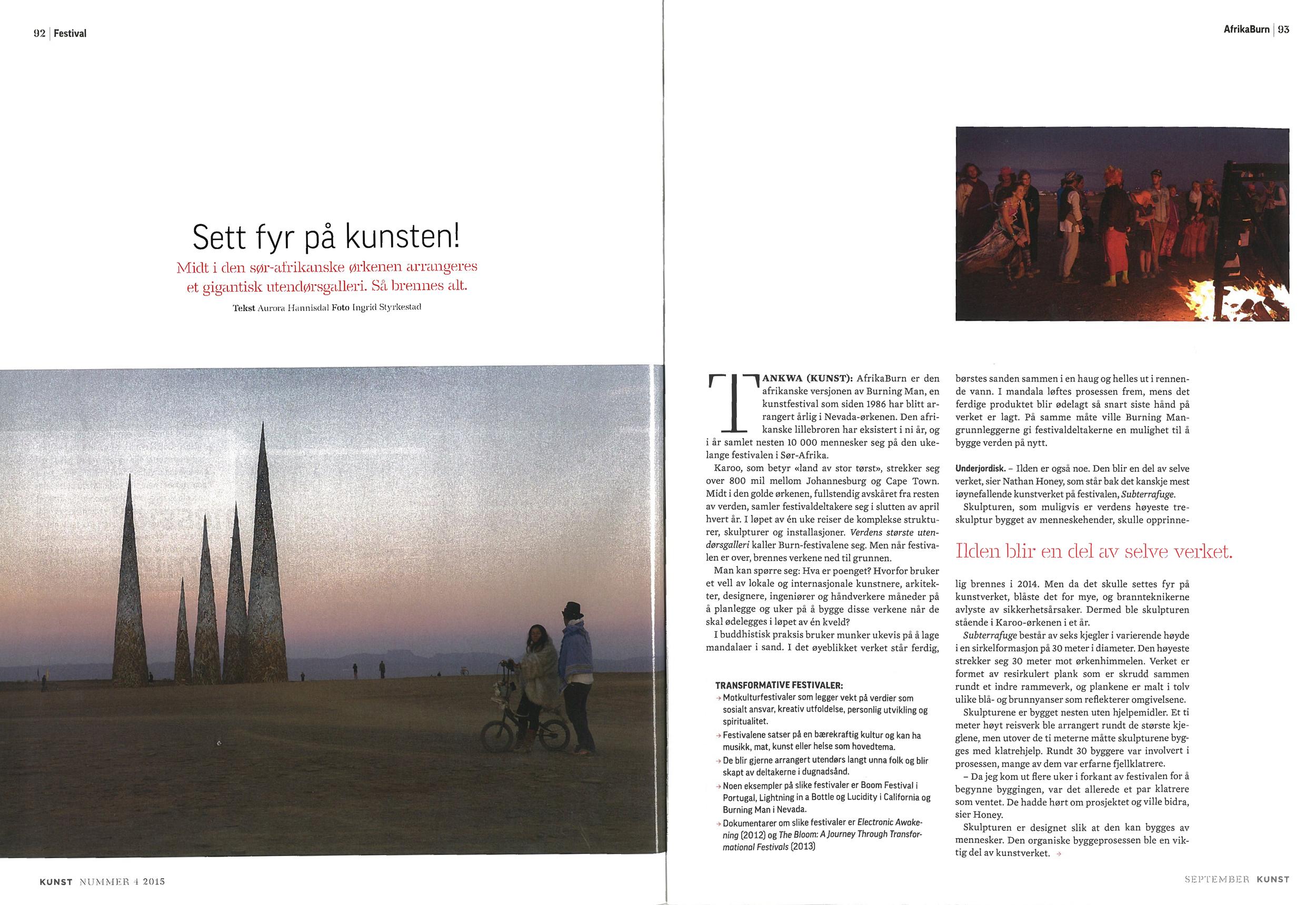 Midt i den sør-afrikanske ørkenen arrangeres et gigantisk utendørsgalleri. Så brennes alt. Artikkel i magasinet Kunst.