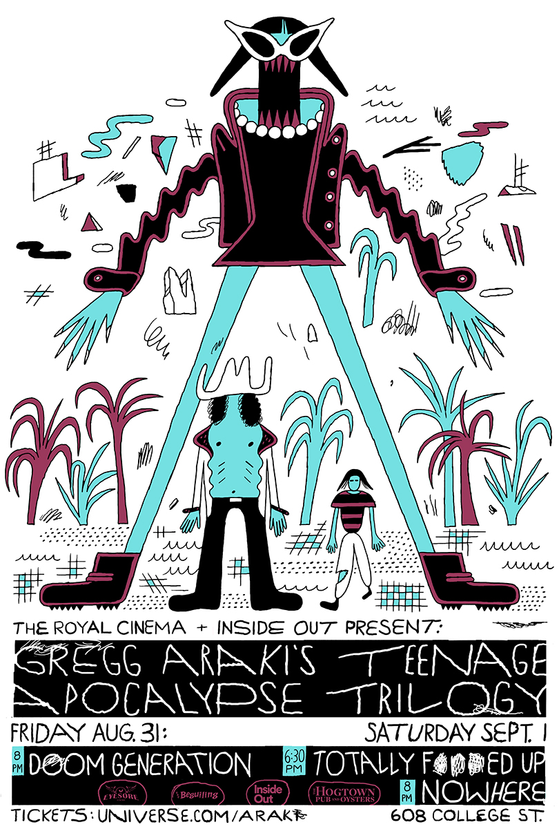 Poster for Inside Out's screening of Gregg Araki's Teenage Apocalypse Trilogy