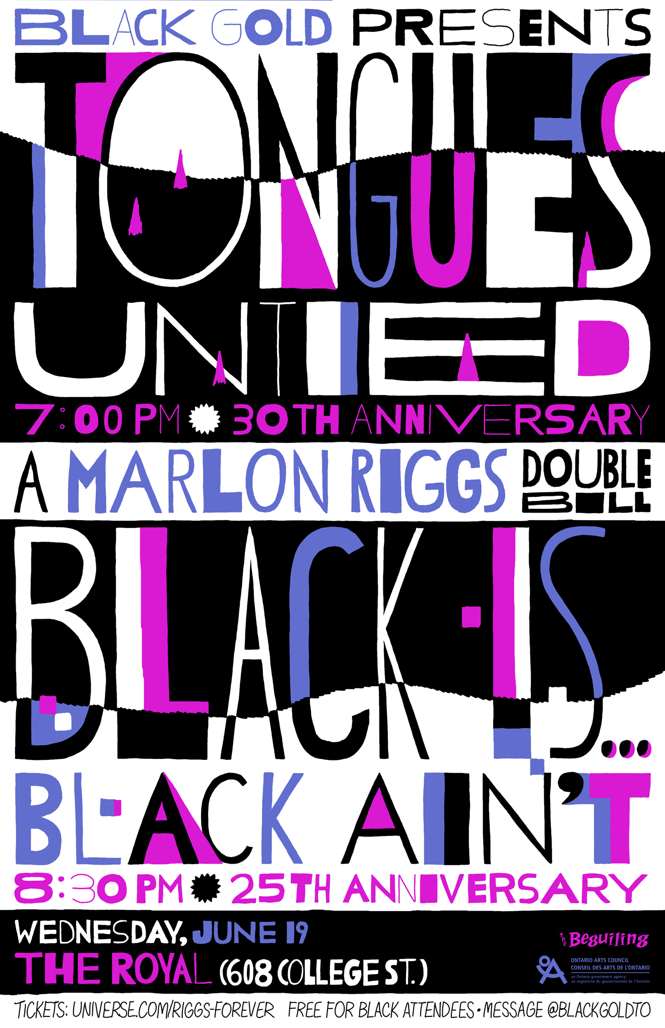 Poster for Black Gold's screening of Tongues Untied / Black Is . . . Black Ain't