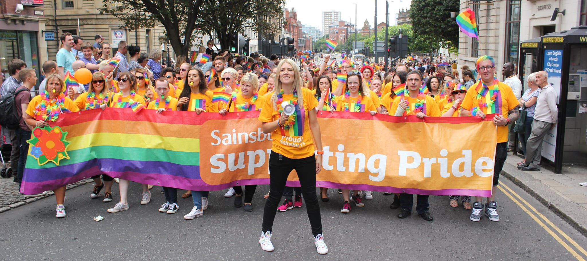 Jemma Kameen leading Sainsbury's colleagues at Leeds Pride in 2016.