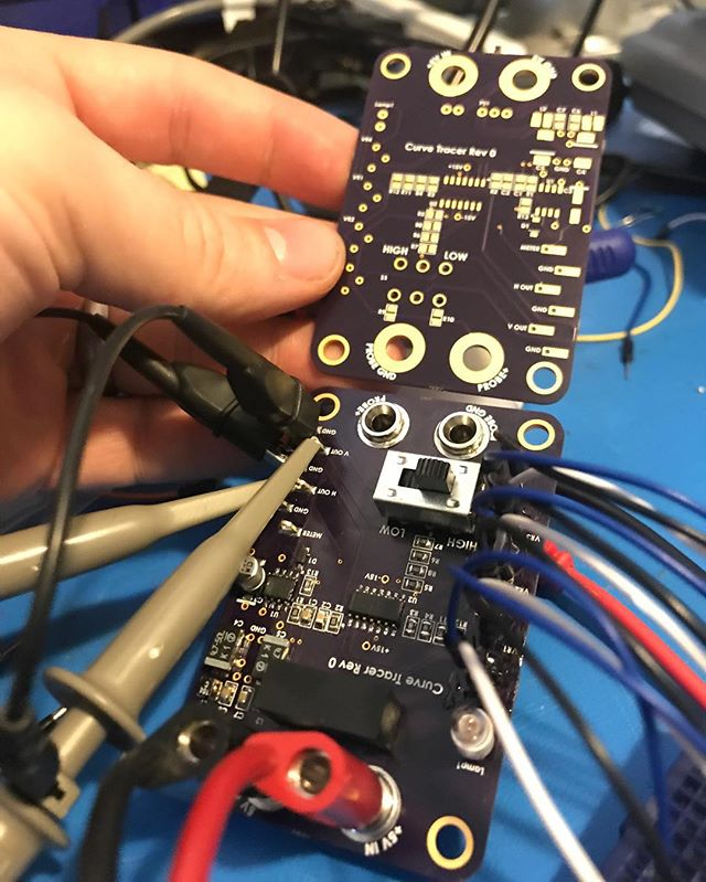 My version of Mr. Carlson's Lab's curve tracer.  Works like a charm.  This device creates unique signatures for components, on a scope screen, allowing fast comparisons and diagnosis.  Welcomed addition to my electronic test gear. #mrcarlsonslab #bugrobotics #oshpark #curvetracer