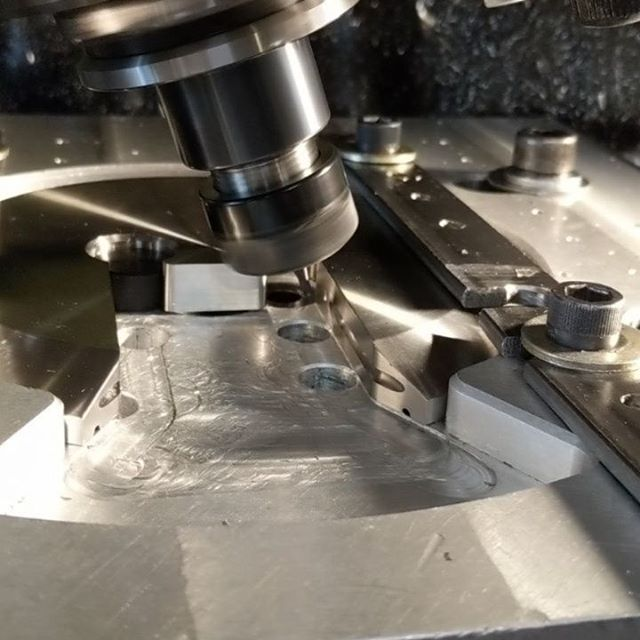 Had the Hermle's spindle at 20deg angle to get some clearance for the @harveytool undercut endmill.  Nothing special but this machine and control makes it too easy sometimes.  #hermle #cnc #bugrobotics