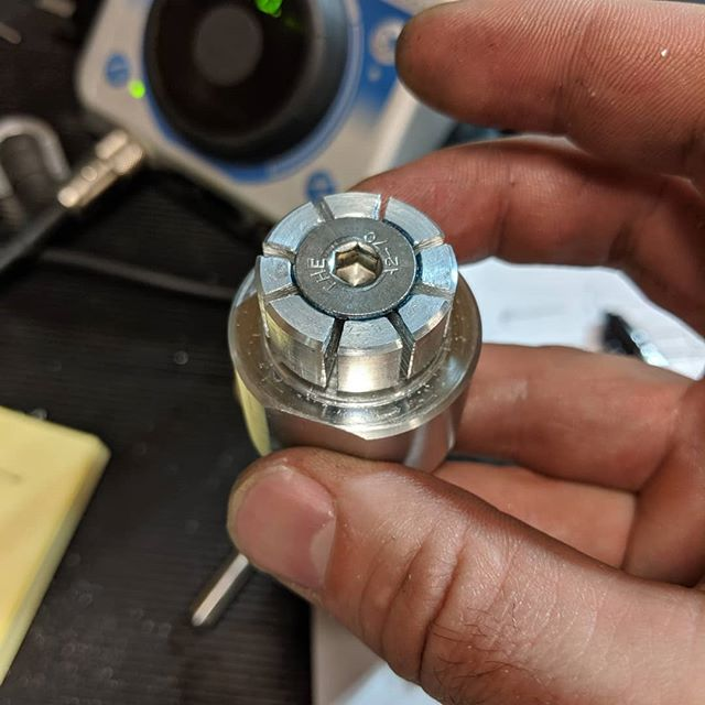 Sometimes it's just as interesting building the tools to make parts.  Here is an expanding arbor that fits into a blind hole in the Delrin part shown.  Nut shown in the second pic draws in a M8 flat head screw, expanding the arbor.  #bugrobotics #noNDAhere #expandingarbor #cnc #partstomakeparts