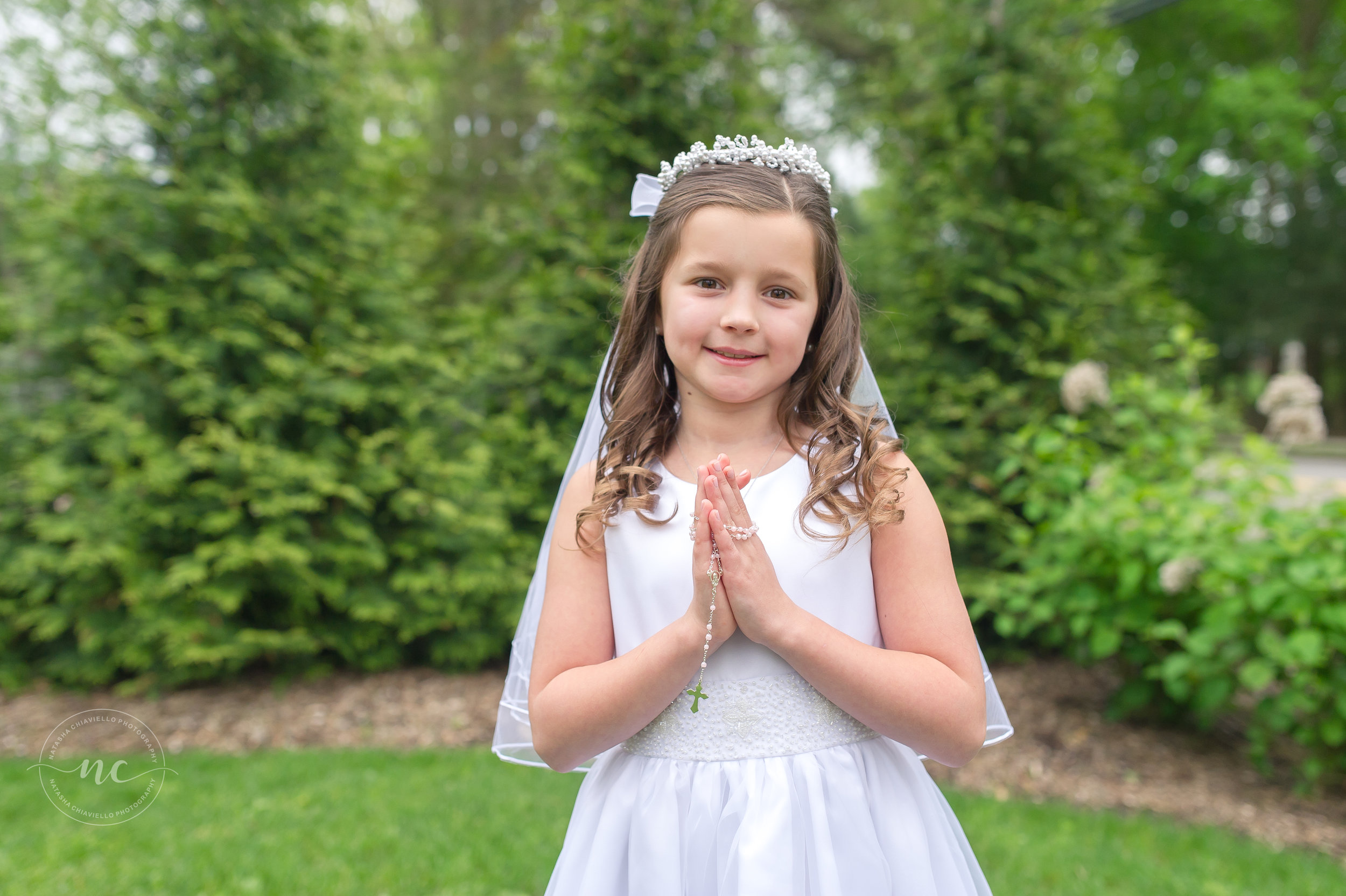 communion dress and rosary