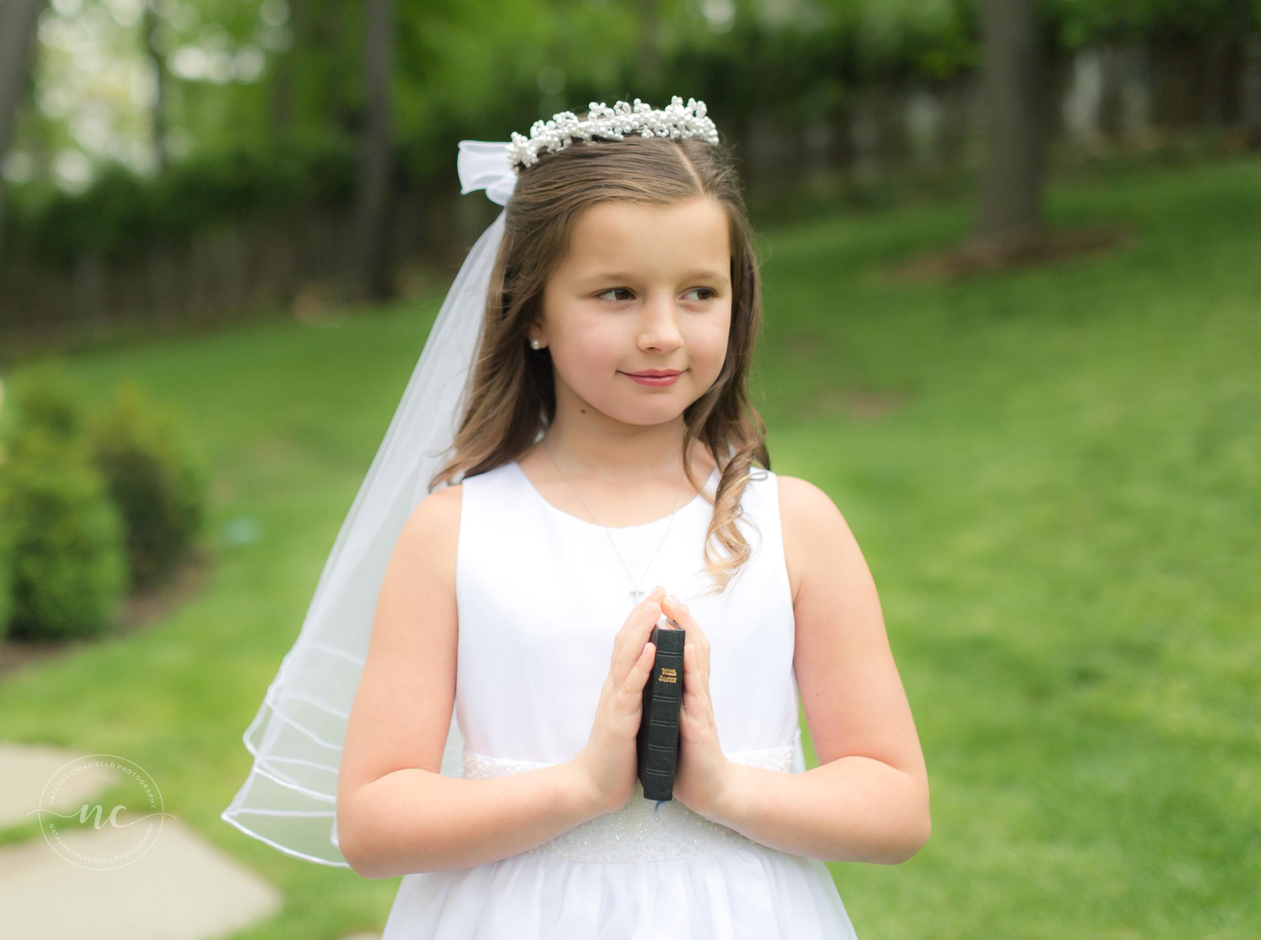 Communion Dress and bouquet