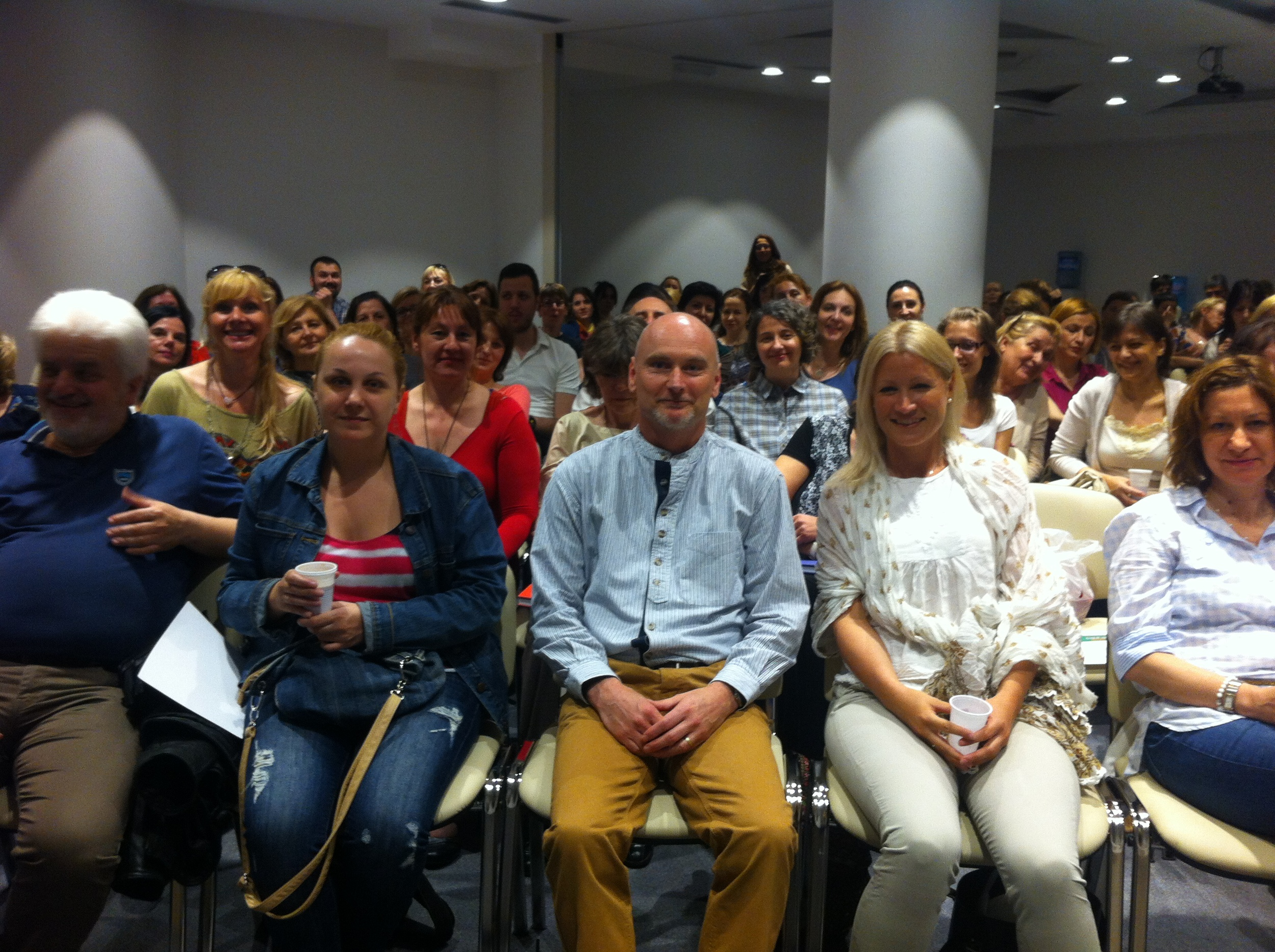 Ian Watson with students in belgrade, serbia in 2014