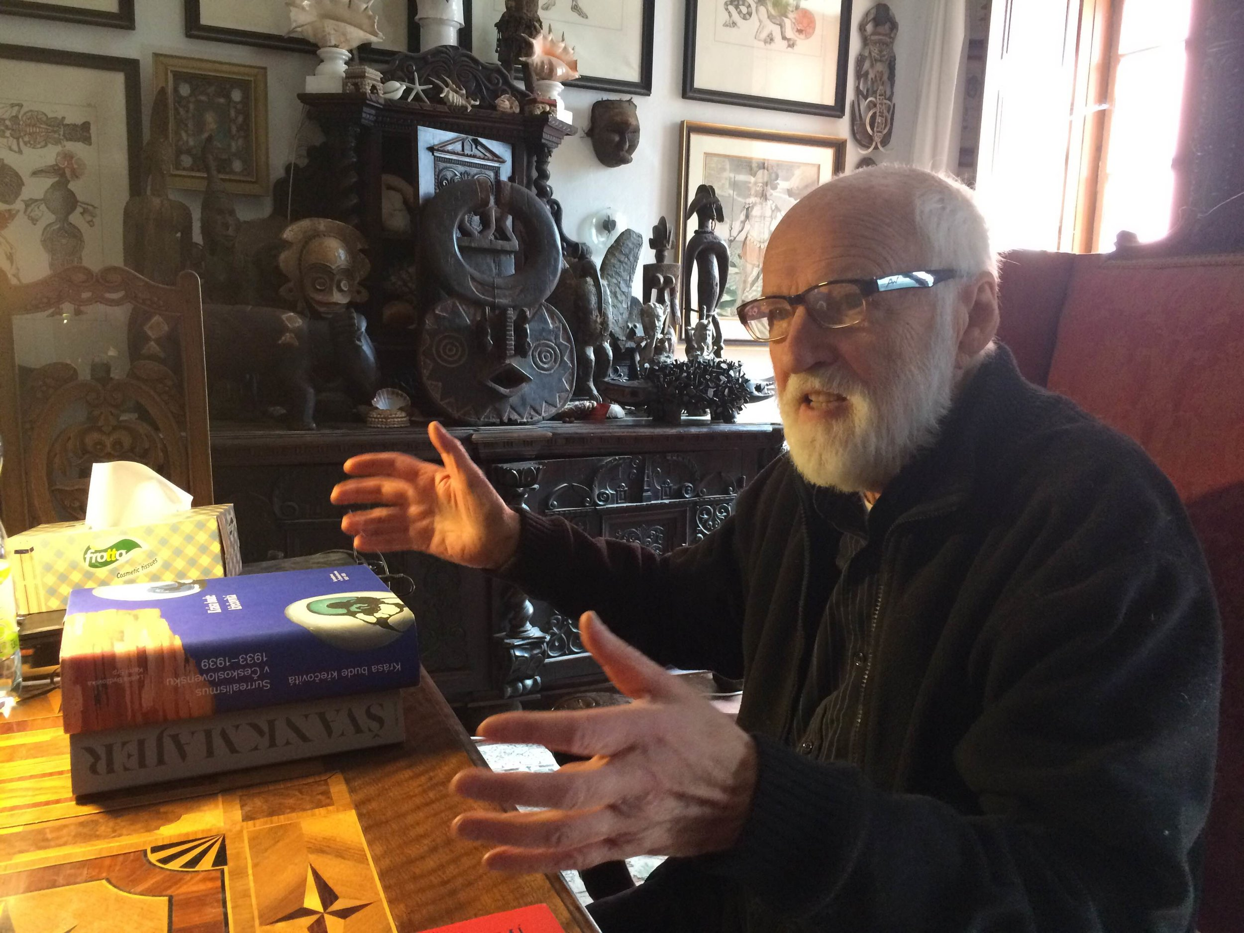 Jan Svankmajer in his study, August 2016.