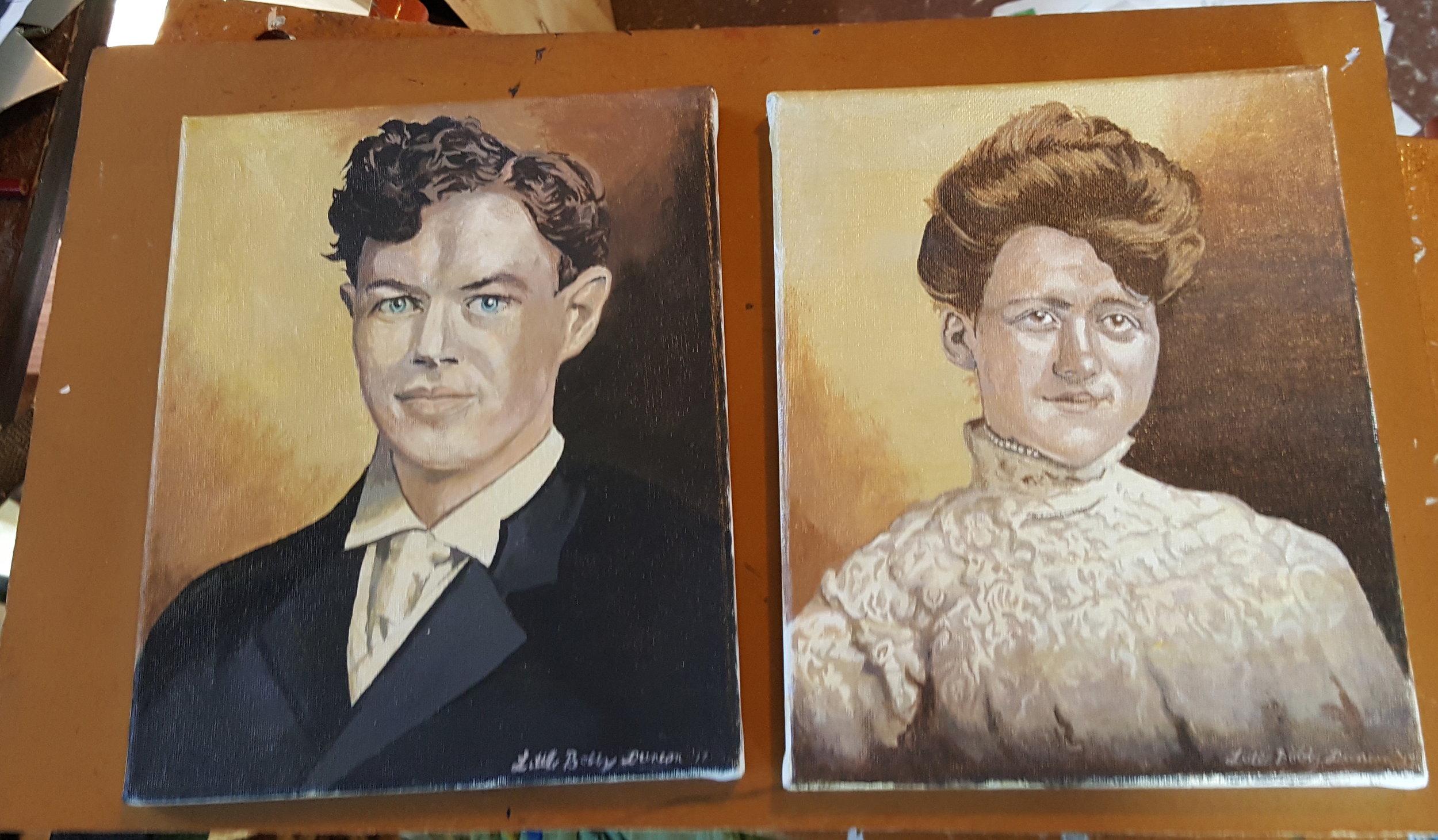 Portraits of client's great-grandparents