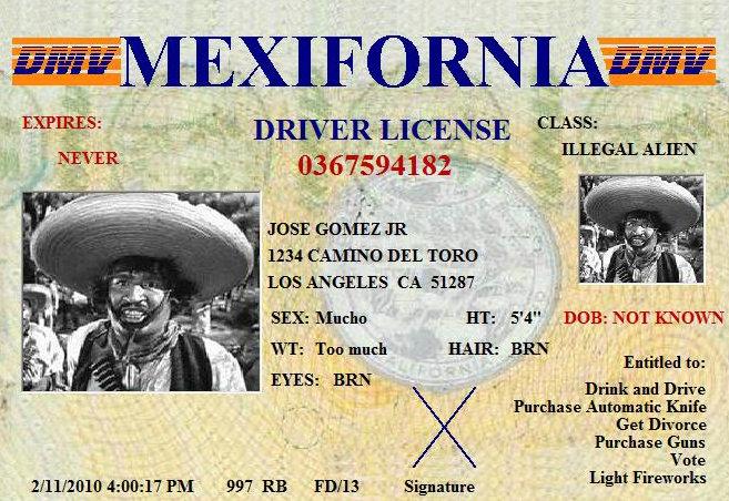 Mexifornia Driver's License!