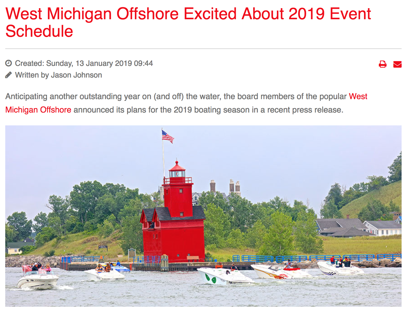 West Michigan Offshore Excited About 2019 Event Schedule -