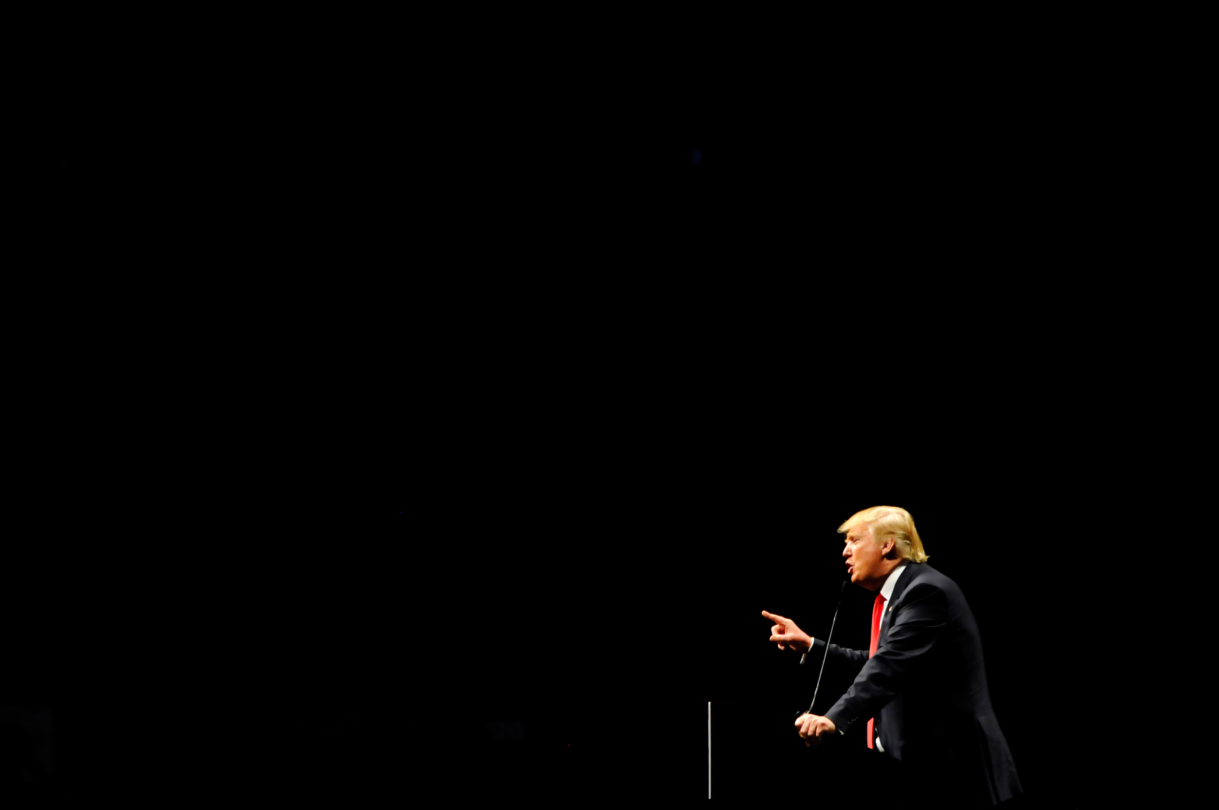 Republican U.S. presidential candidate Donald Trump speaks at his campaign rally in Oklahoma City, Oklahoma February 26, 2016. REUTERS/Nick Oxford