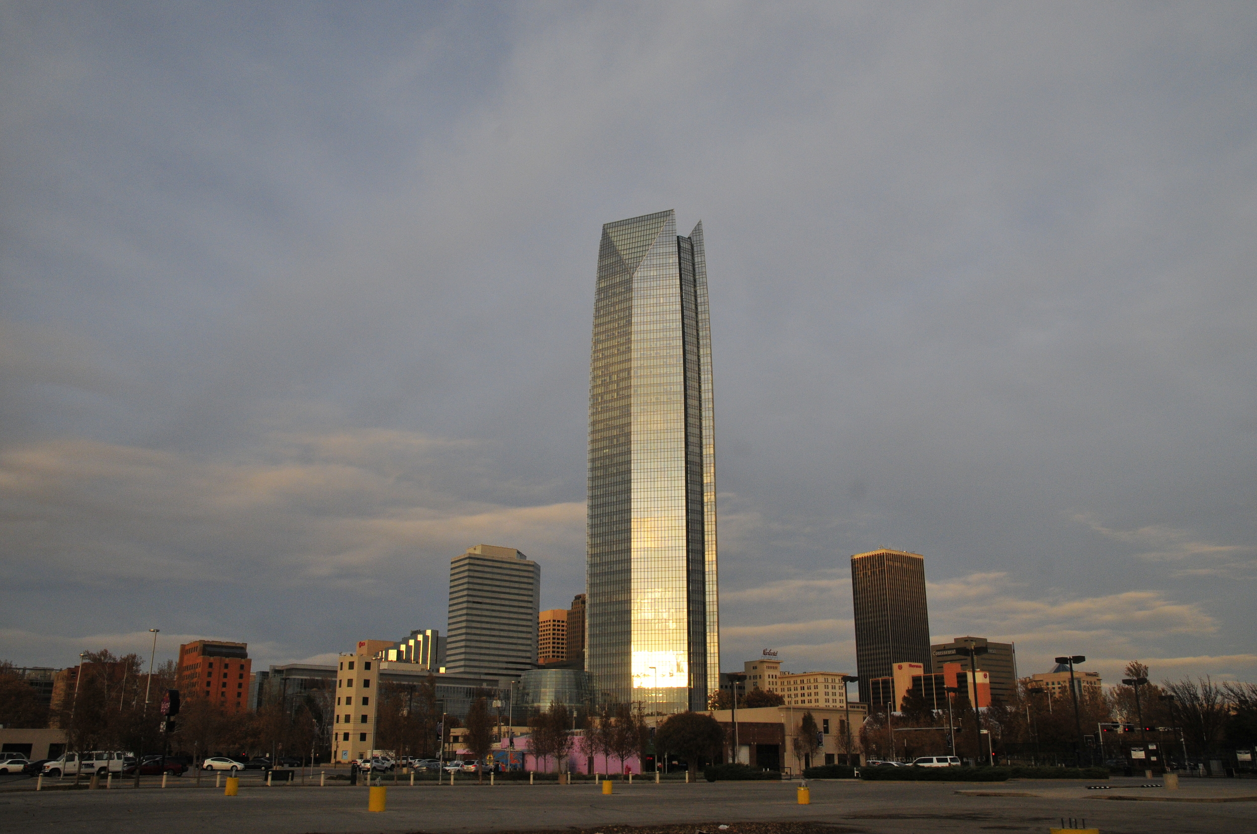 The Devon Energy Center stands out above the rest of the skyline in Oklahoma City.