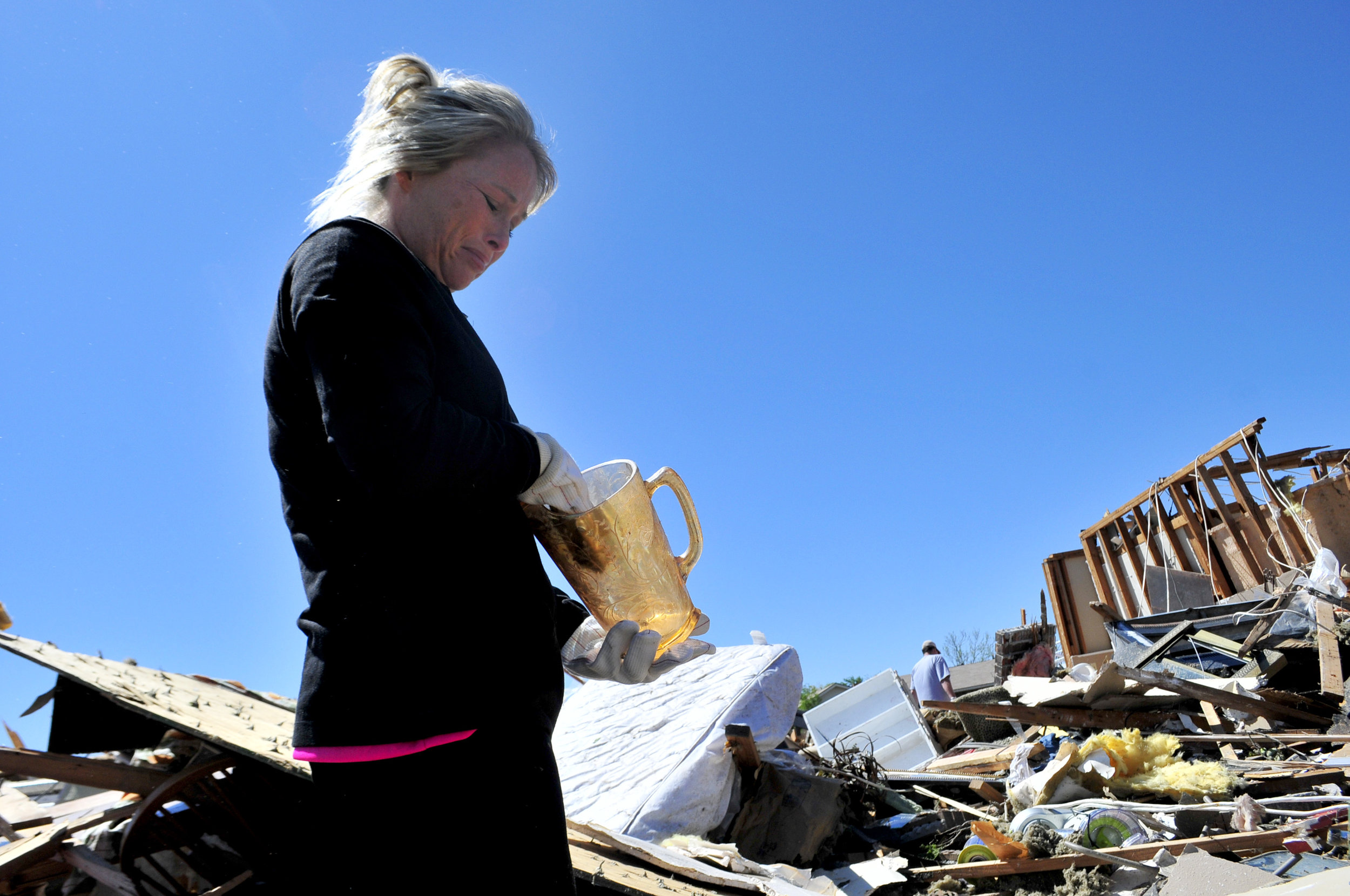 Emilee Neagle got emotional after finding her grandmothers pitcher in what was left behind of her home that was destroyed by a tornado that ripped through Woodward Oklahoma early Sunday morning.
