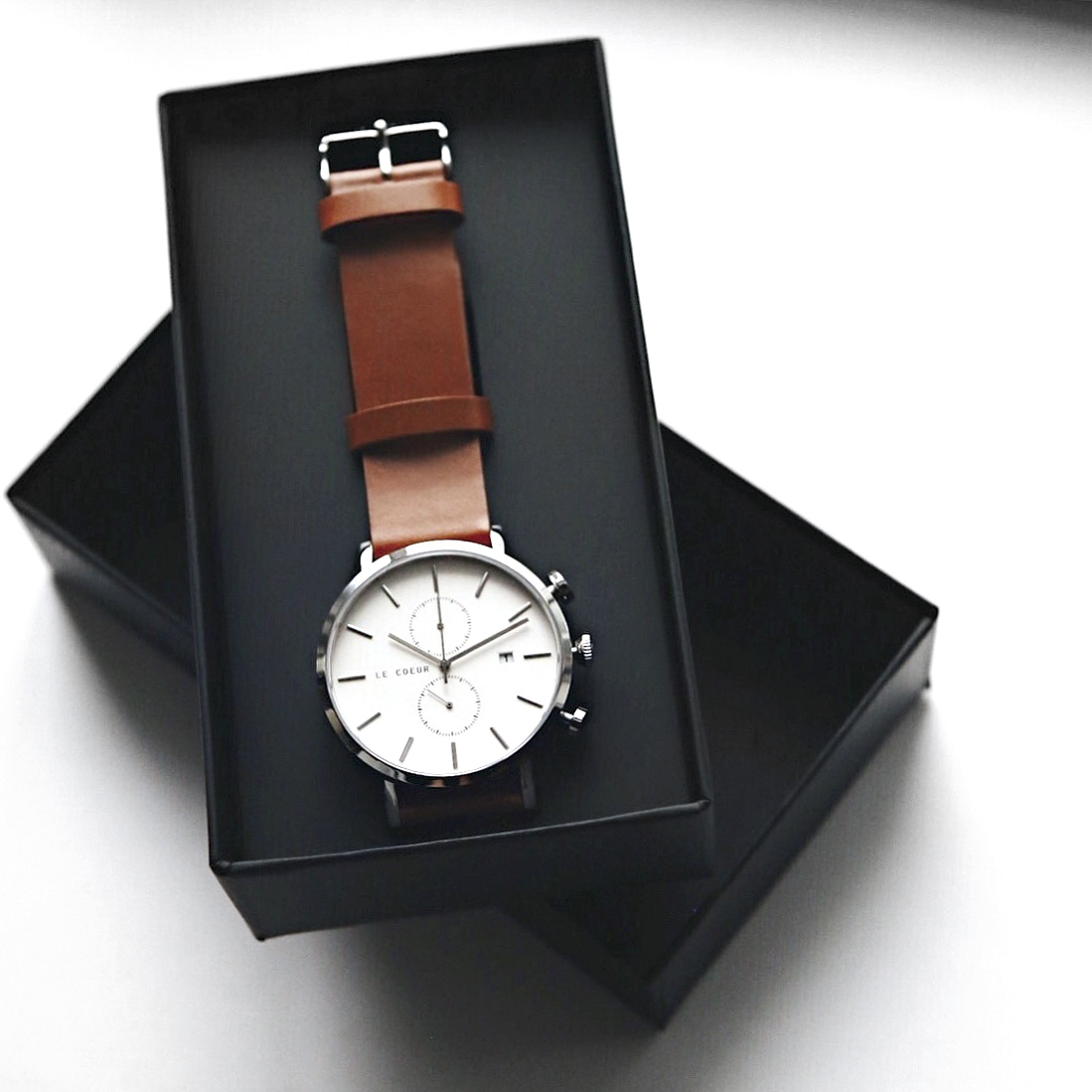 Le Coeur Steel and Brown Cambridge Chronograph Watch3.jpg