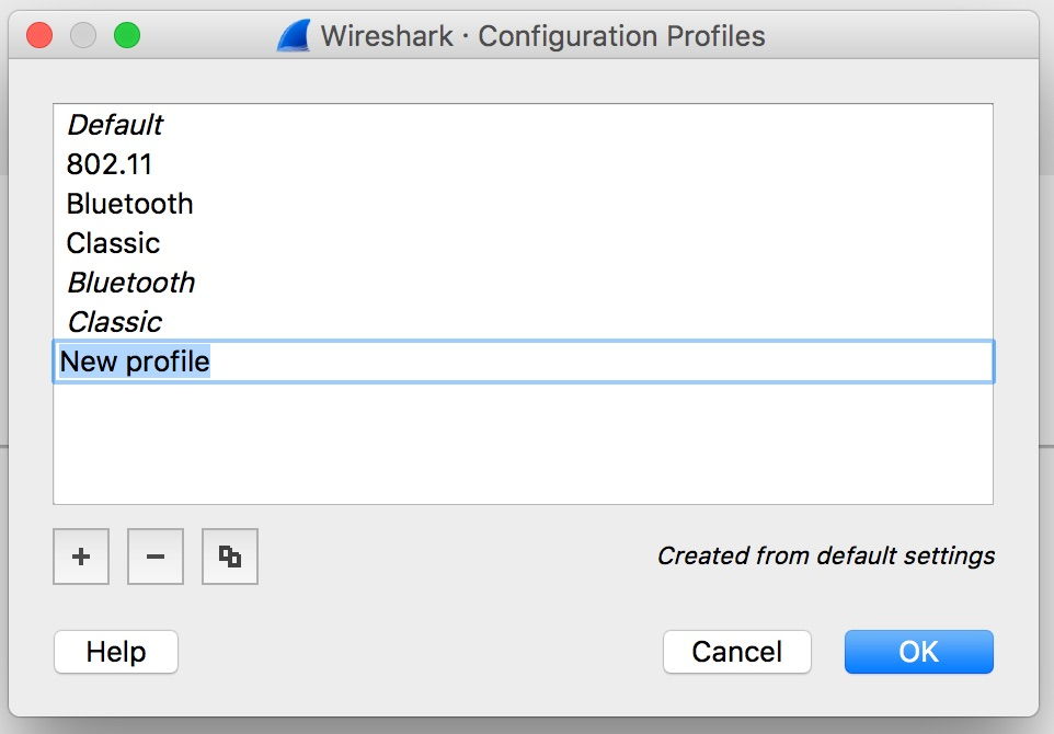 Wireshark Configuration Profiles Panel