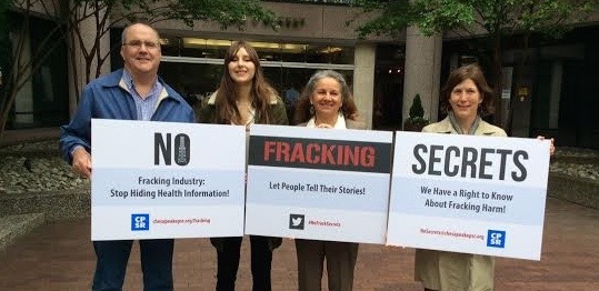 Chesapeake PSR and Food and Water Watch deliver a petition to the fracking industry to provide information on fracking nondisclosure agreements that hamper public health information. #NoFrackSecrets