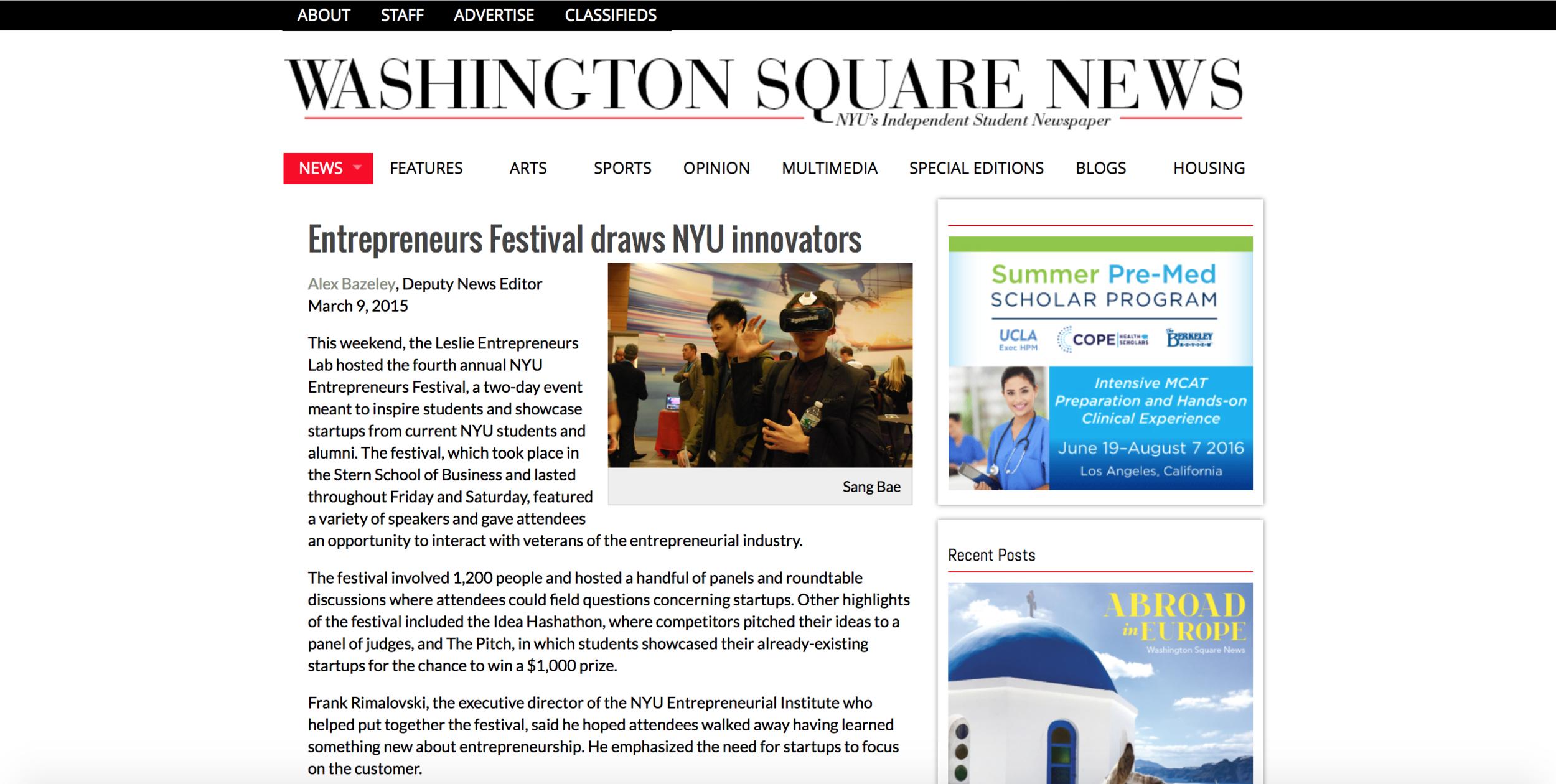 NYU Entrepreneurs Festival Studor Noah Hyams Tutor Pitch