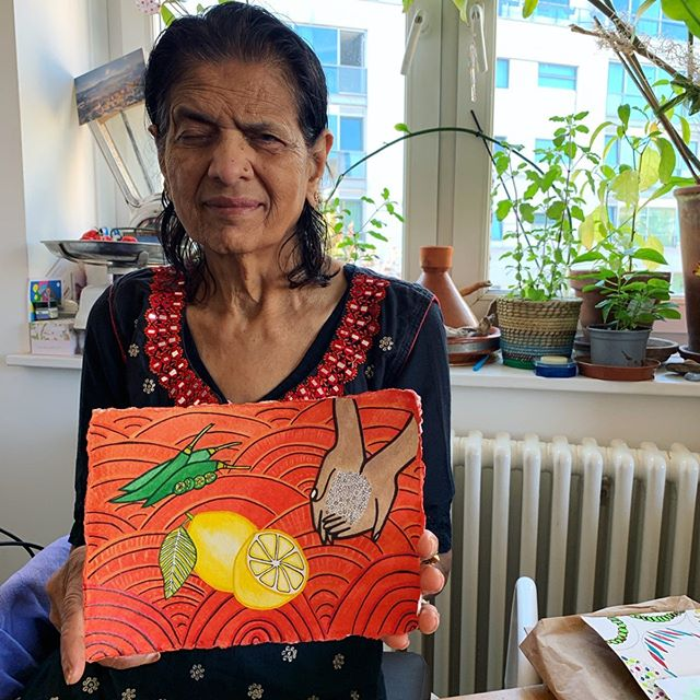 """All summer mum has been making the most amazing meals for us. When we ask her what her secret is she always says—""""chilli, lemon, salt!"""" 🌶🍋🧂. So I made a painting about it. But when I gave this painting to mum this morning she said, """"But Dipti, where's the coriander????!"""". •••••••••••• Some things, like coriander, go without saying. Until next time London. I promise I will be back and I'll never forget the coriander again! ••••••••••••• #mumsmagic #chilli #lemon #salt #acrylic #painting #sharpie #watercolor #art #japanesetextiles #bengalitextiles #somuchlove"""