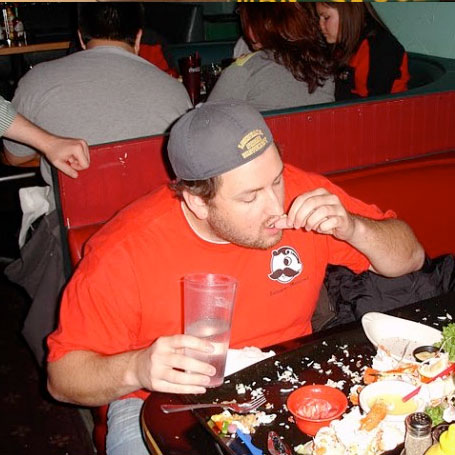 TIME: JUST UNDER THE WIRE    JAY DUCOTE  Jay Ducote, orignally from Baton Rouge Louisiana, was the 5th person to defeat our Kodiak Arrest food Challenge… just under the wire! Nice job Jay.  You can check out Jay's culinary adventures at:  www.biteandbooze.com